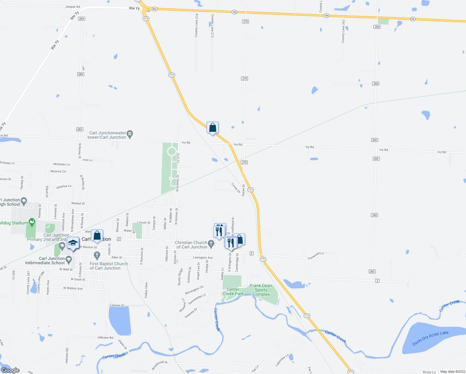 map of restaurants, bars, coffee shops, grocery stores, and more near 1308 Covey Drive in Carl Junction