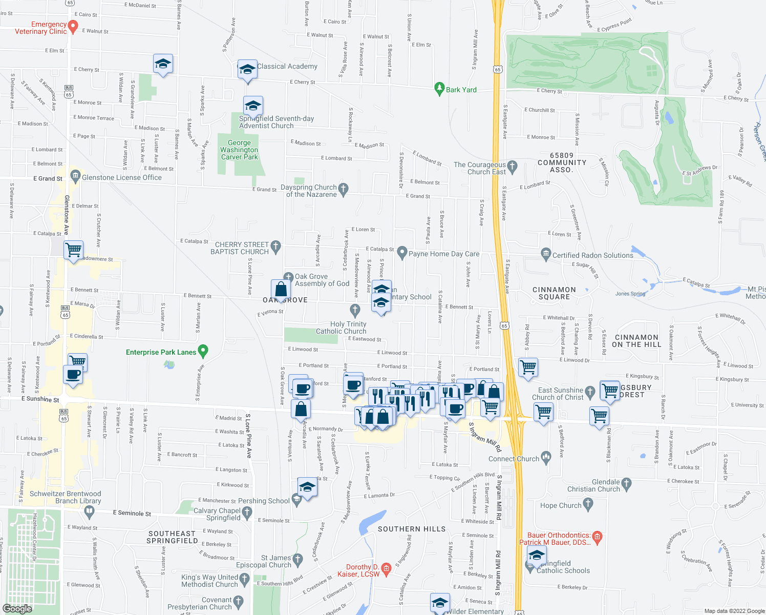 map of restaurants, bars, coffee shops, grocery stores, and more near 2951 East Bennett Street in Springfield