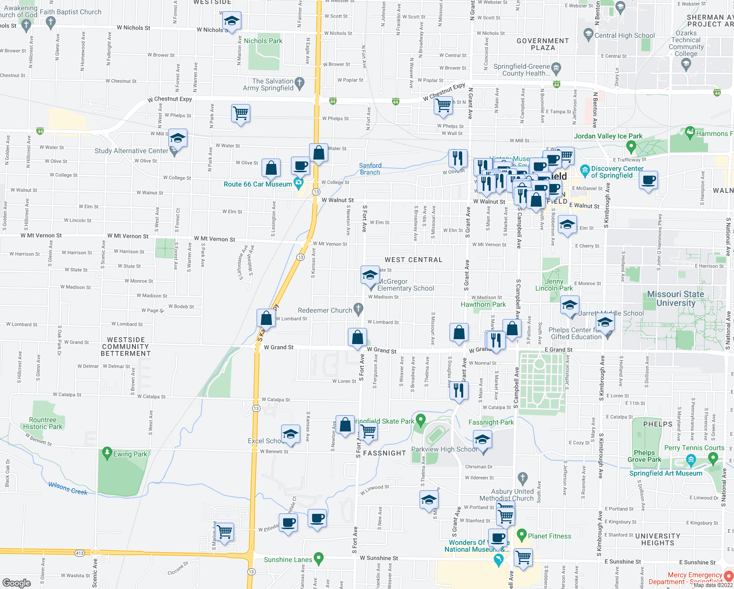 map of restaurants, bars, coffee shops, grocery stores, and more near 816 South Fort Avenue in Springfield