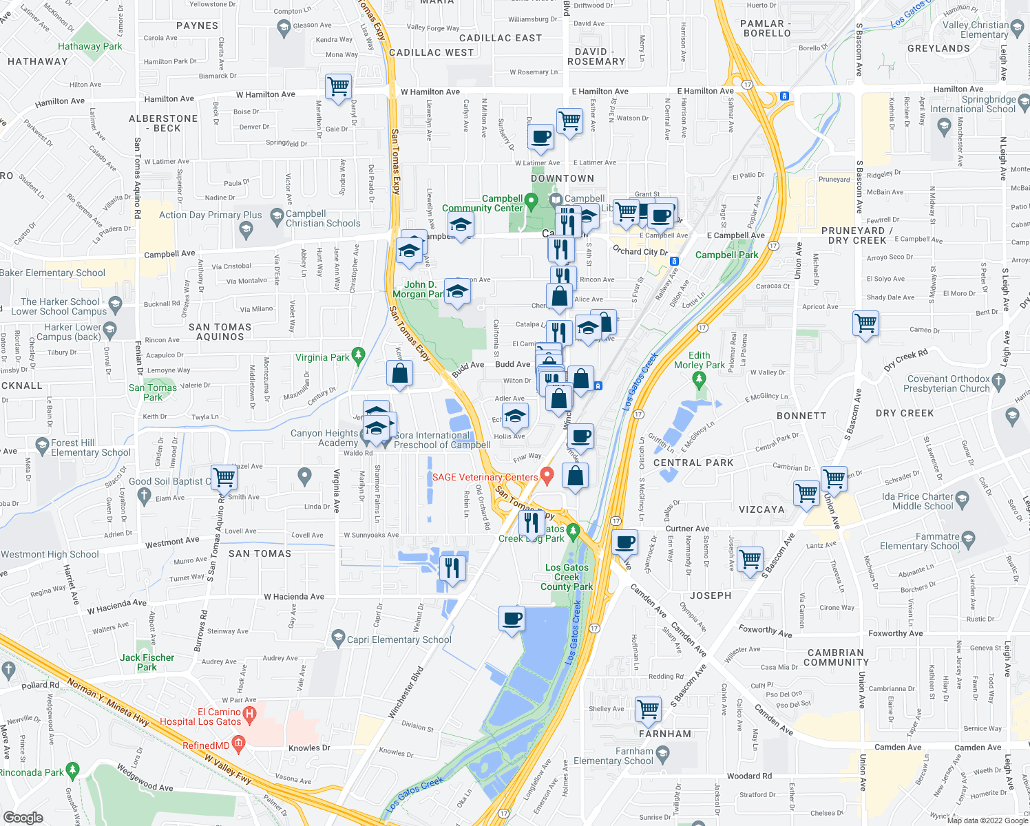 map of restaurants, bars, coffee shops, grocery stores, and more near 185 Echo Avenue in Campbell