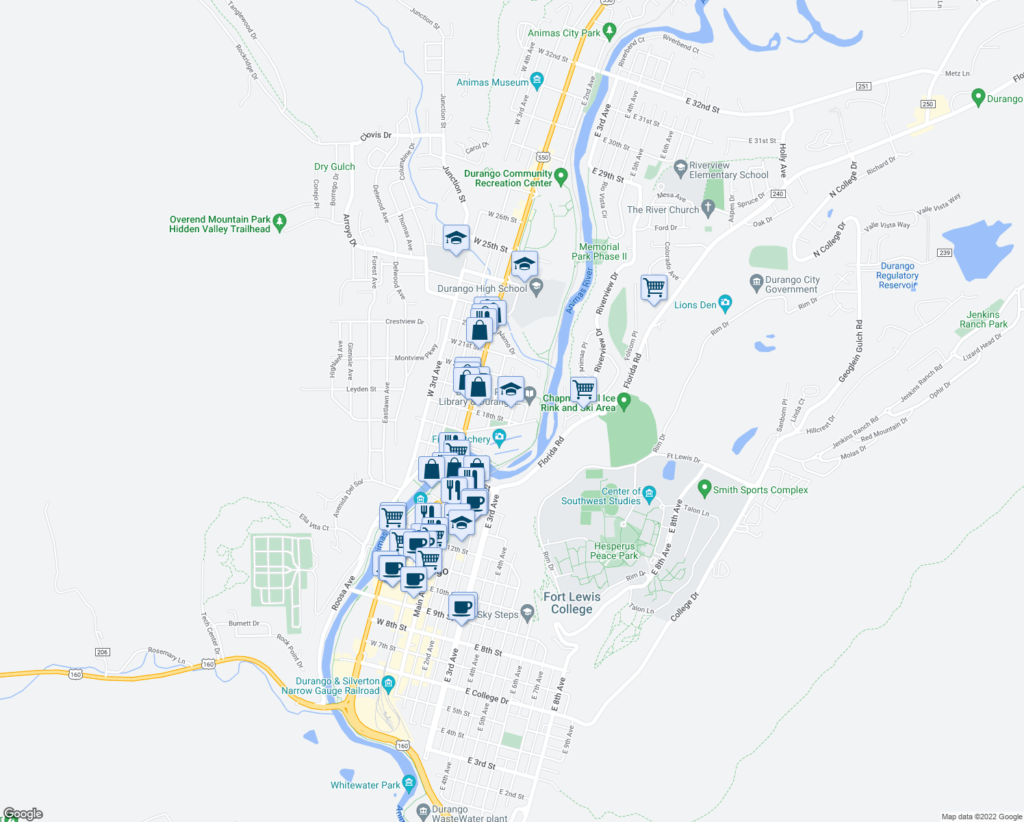 map of restaurants, bars, coffee shops, grocery stores, and more near 201-229 East Park Avenue in Durango