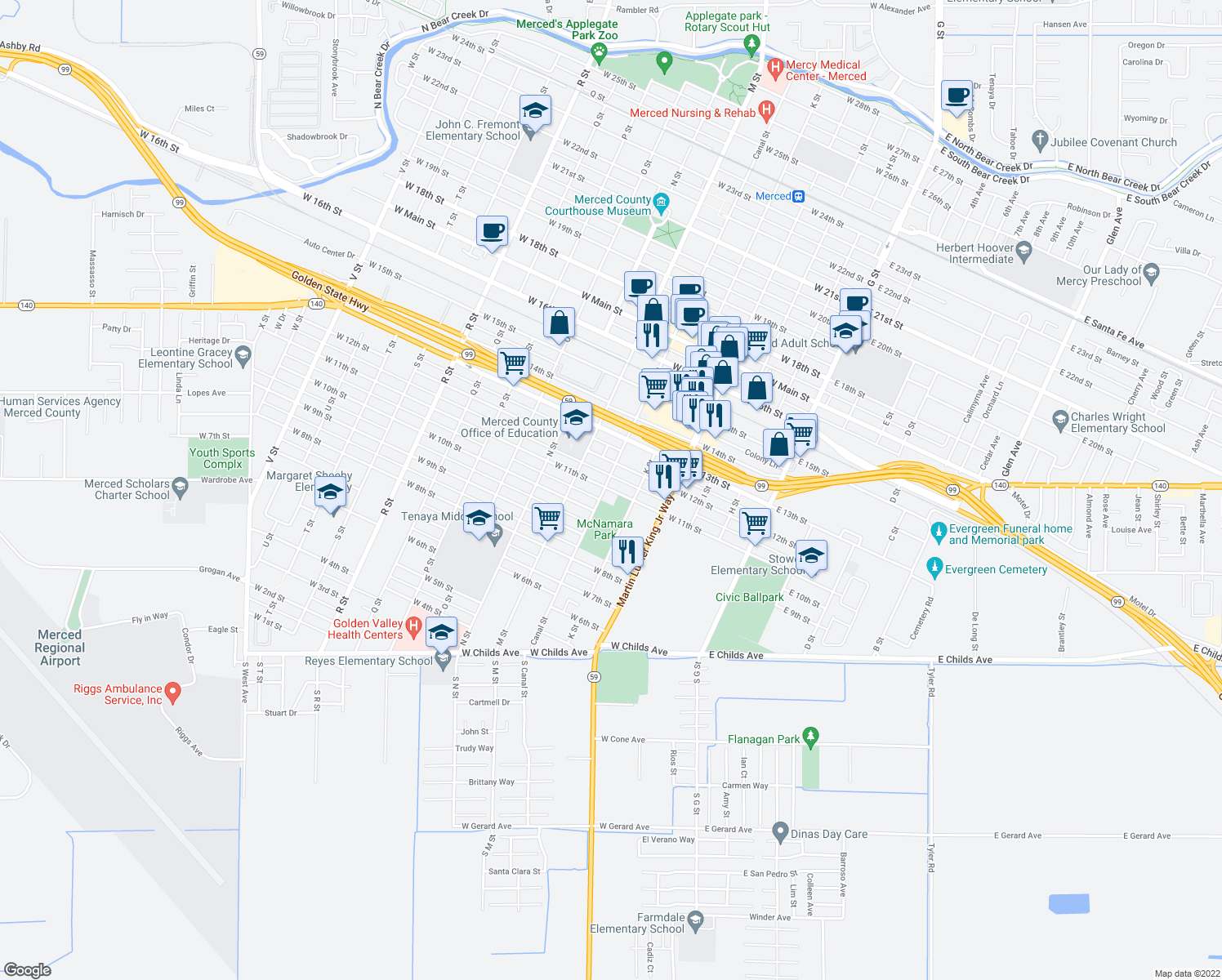map of restaurants, bars, coffee shops, grocery stores, and more near 455 West 11th Street in Merced