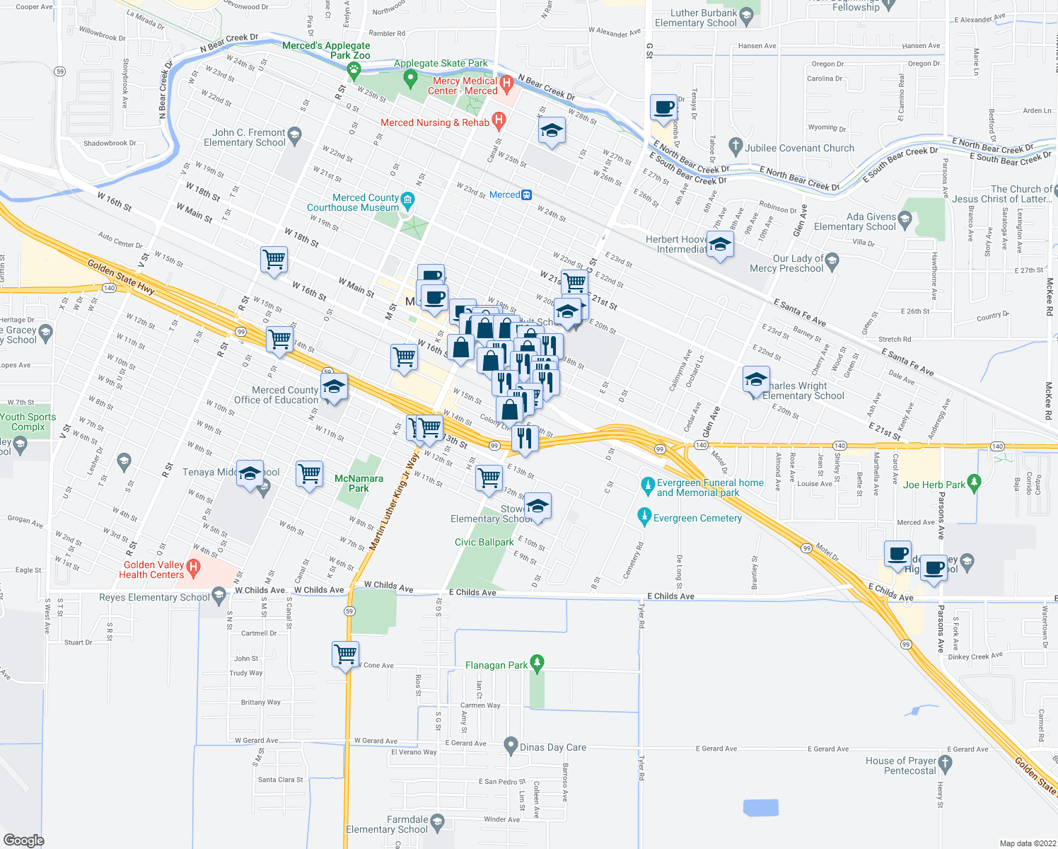 map of restaurants, bars, coffee shops, grocery stores, and more near 37 East 15th Street in Merced