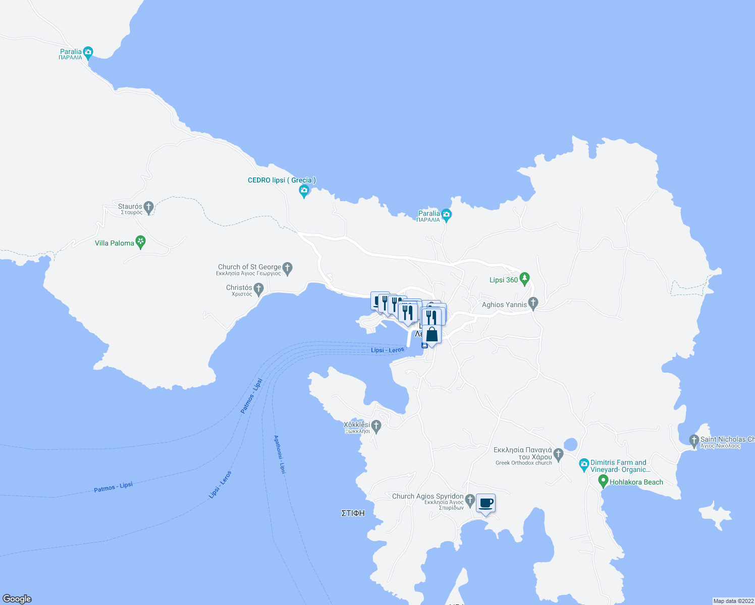 map of restaurants, bars, coffee shops, grocery stores, and more near in Lipsi