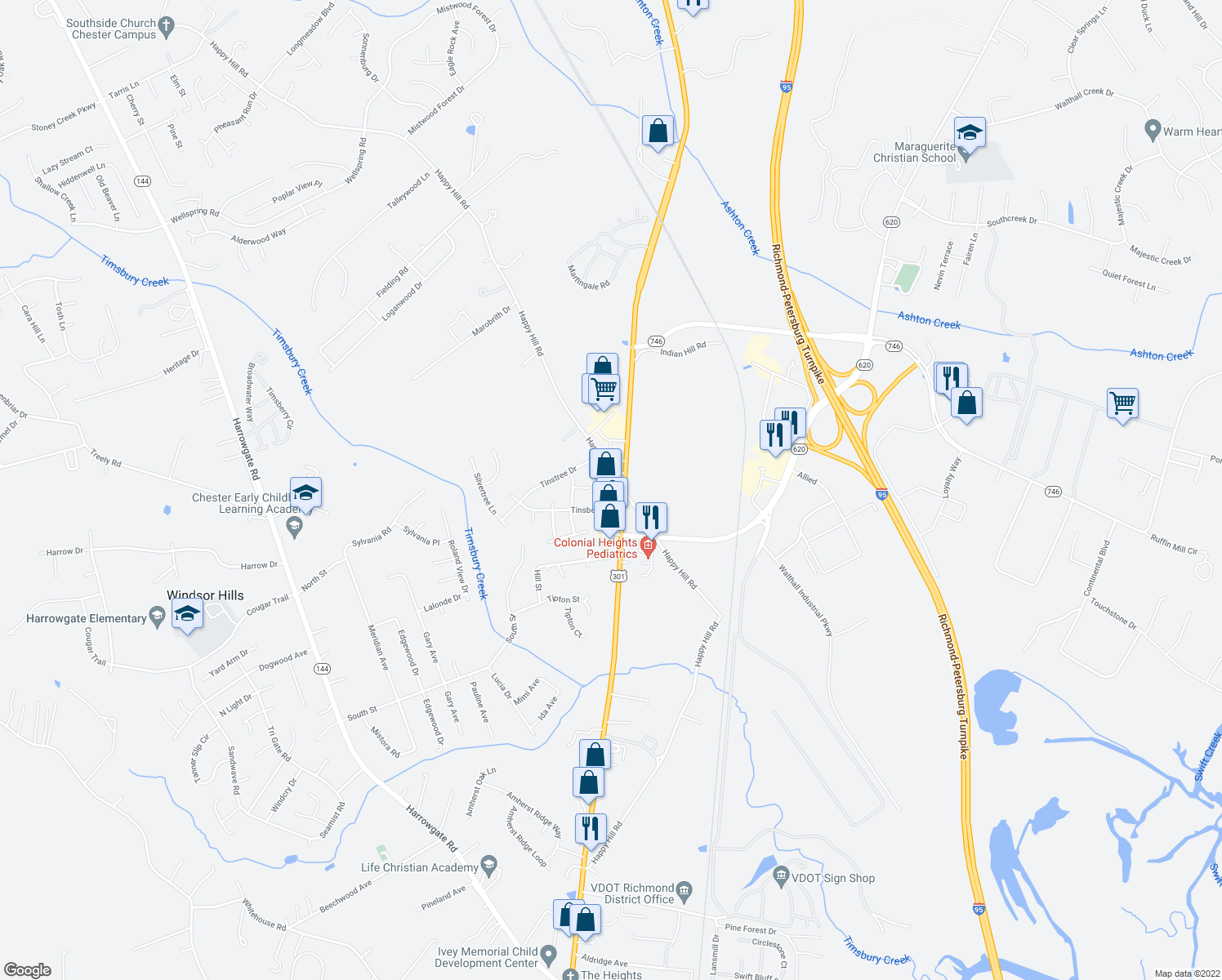 map of restaurants, bars, coffee shops, grocery stores, and more near 15800 Jefferson Davis Hwy in Colonial Heights