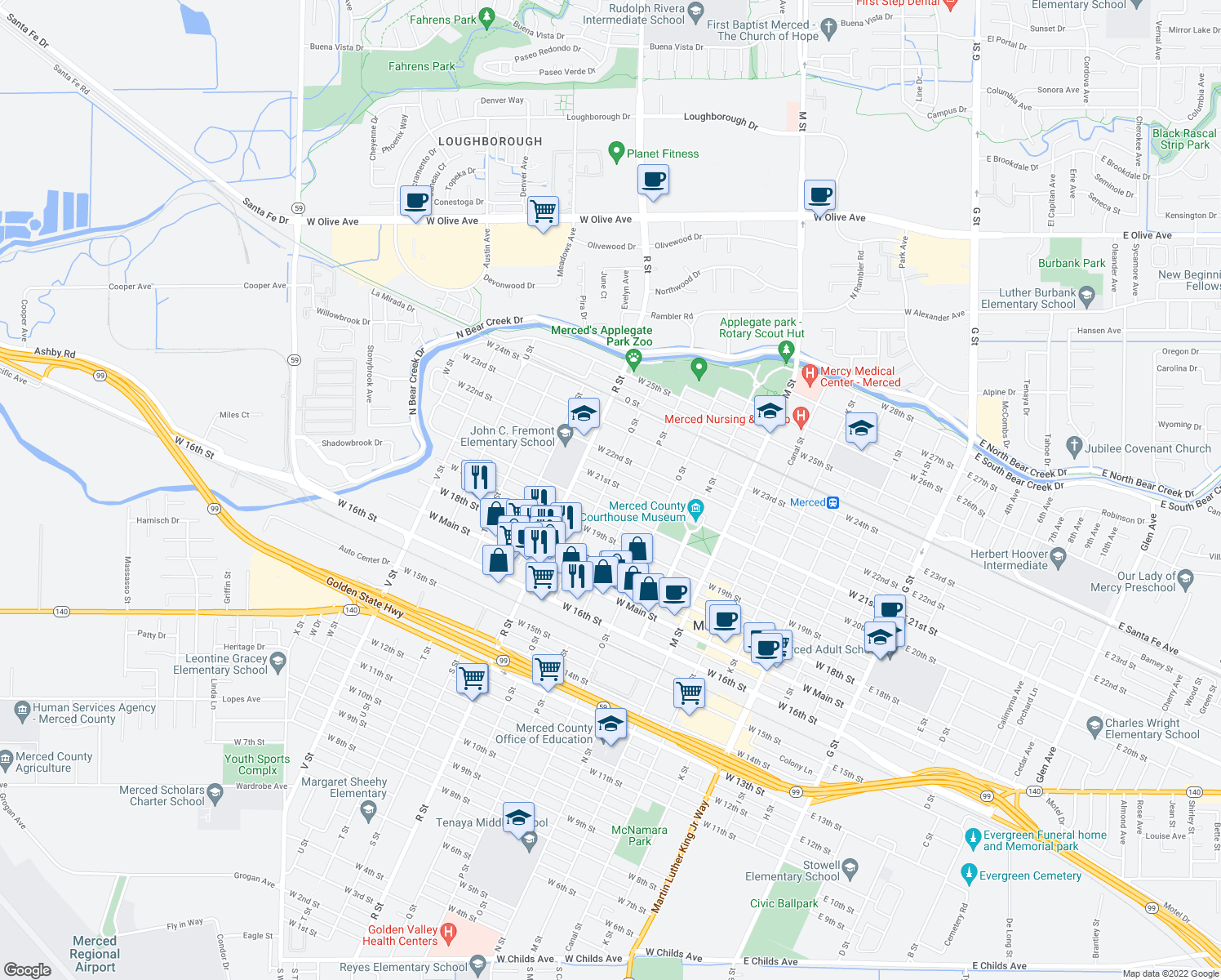 map of restaurants, bars, coffee shops, grocery stores, and more near 954 W 21st St in Merced