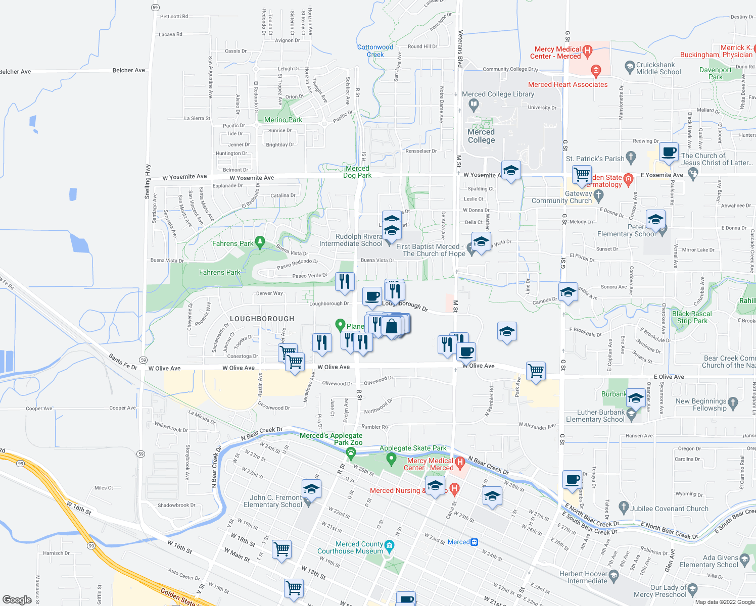 map of restaurants, bars, coffee shops, grocery stores, and more near 1019 Loughborough Drive in Merced