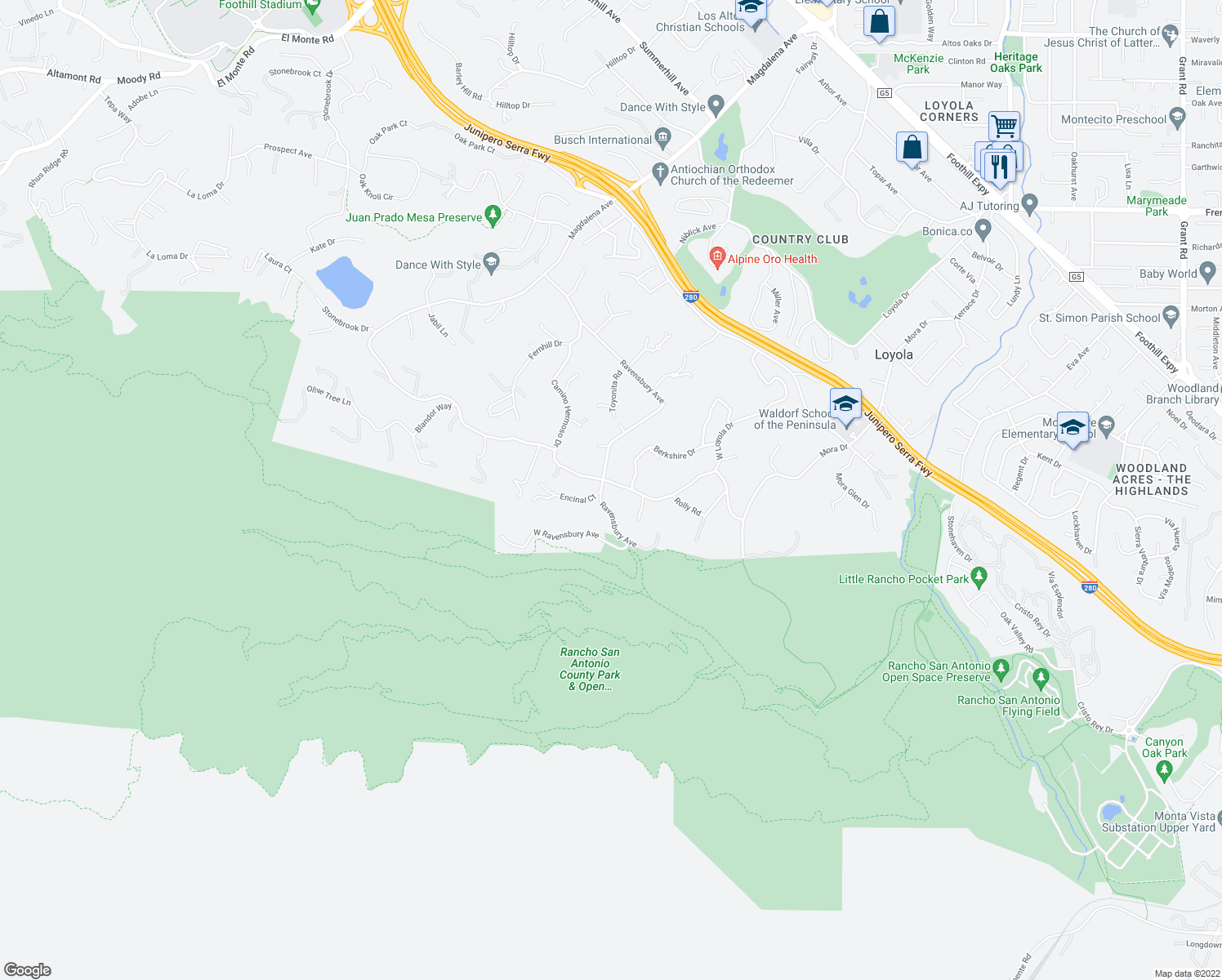 map of restaurants, bars, coffee shops, grocery stores, and more near 10180 West Loyola Drive in Los Altos Hills