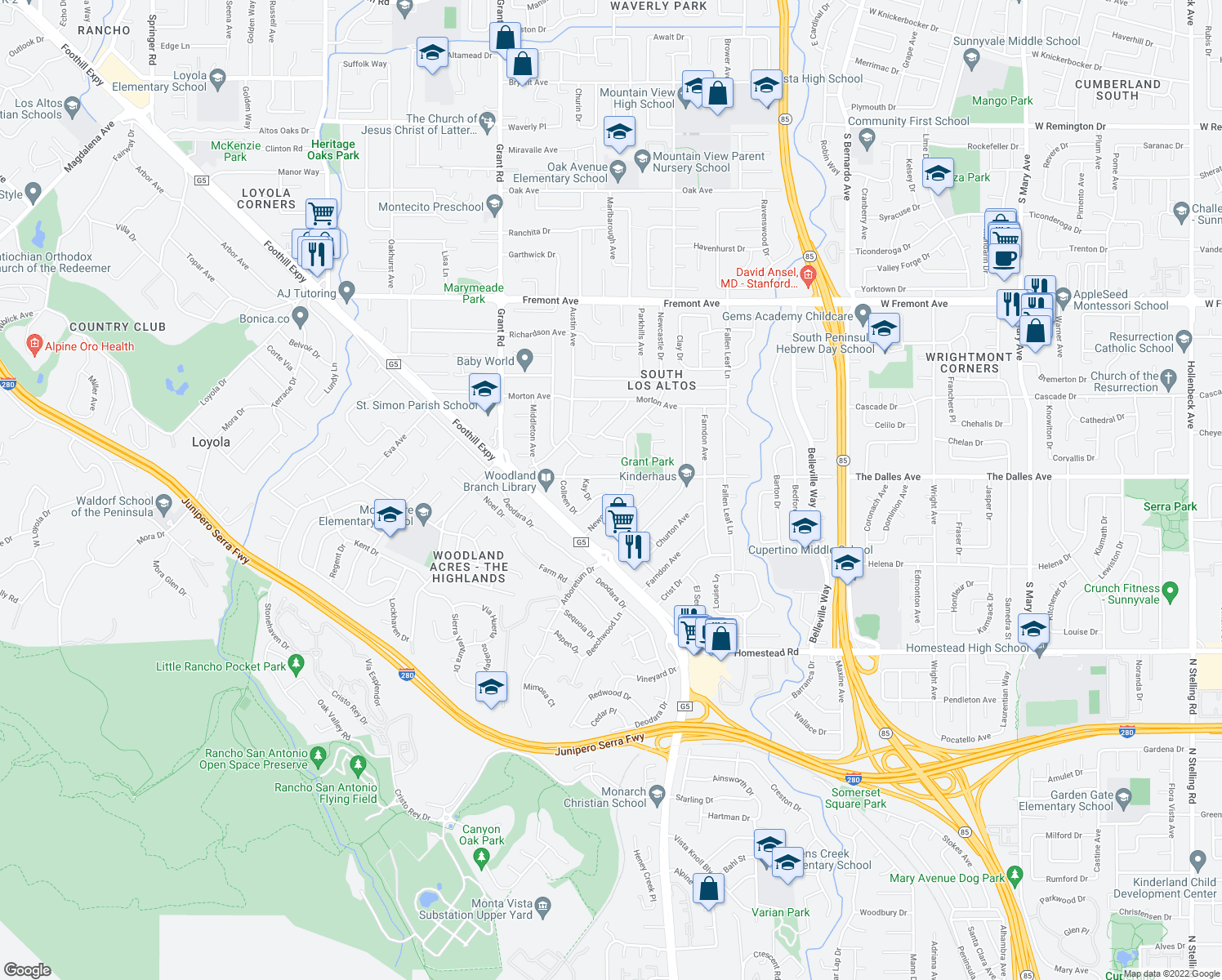 map of restaurants, bars, coffee shops, grocery stores, and more near 1997 Colleen Drive in Los Altos