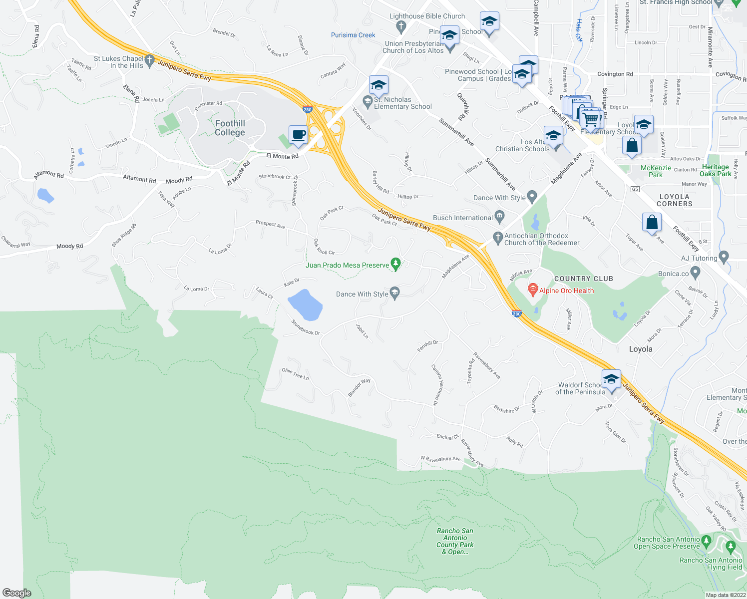 map of restaurants, bars, coffee shops, grocery stores, and more near 24286 Elise Court in Los Altos