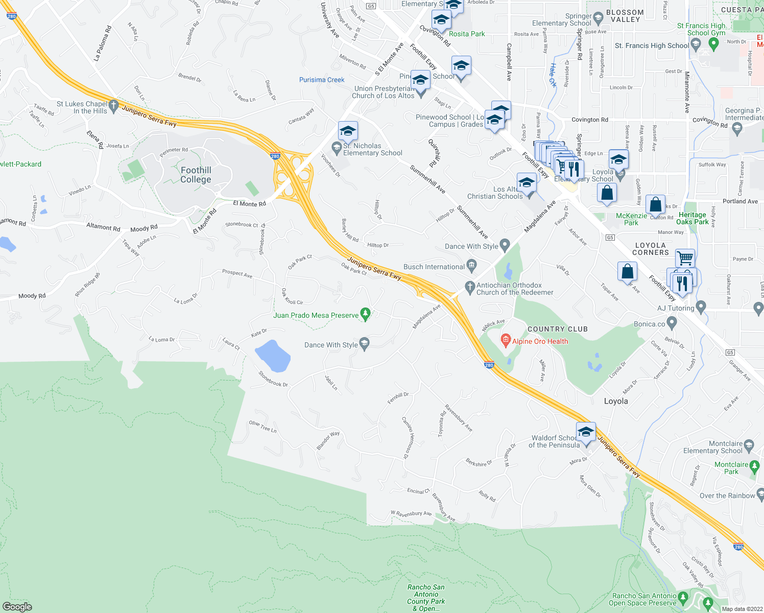 map of restaurants, bars, coffee shops, grocery stores, and more near 11623 Dawson Drive in Los Altos Hills