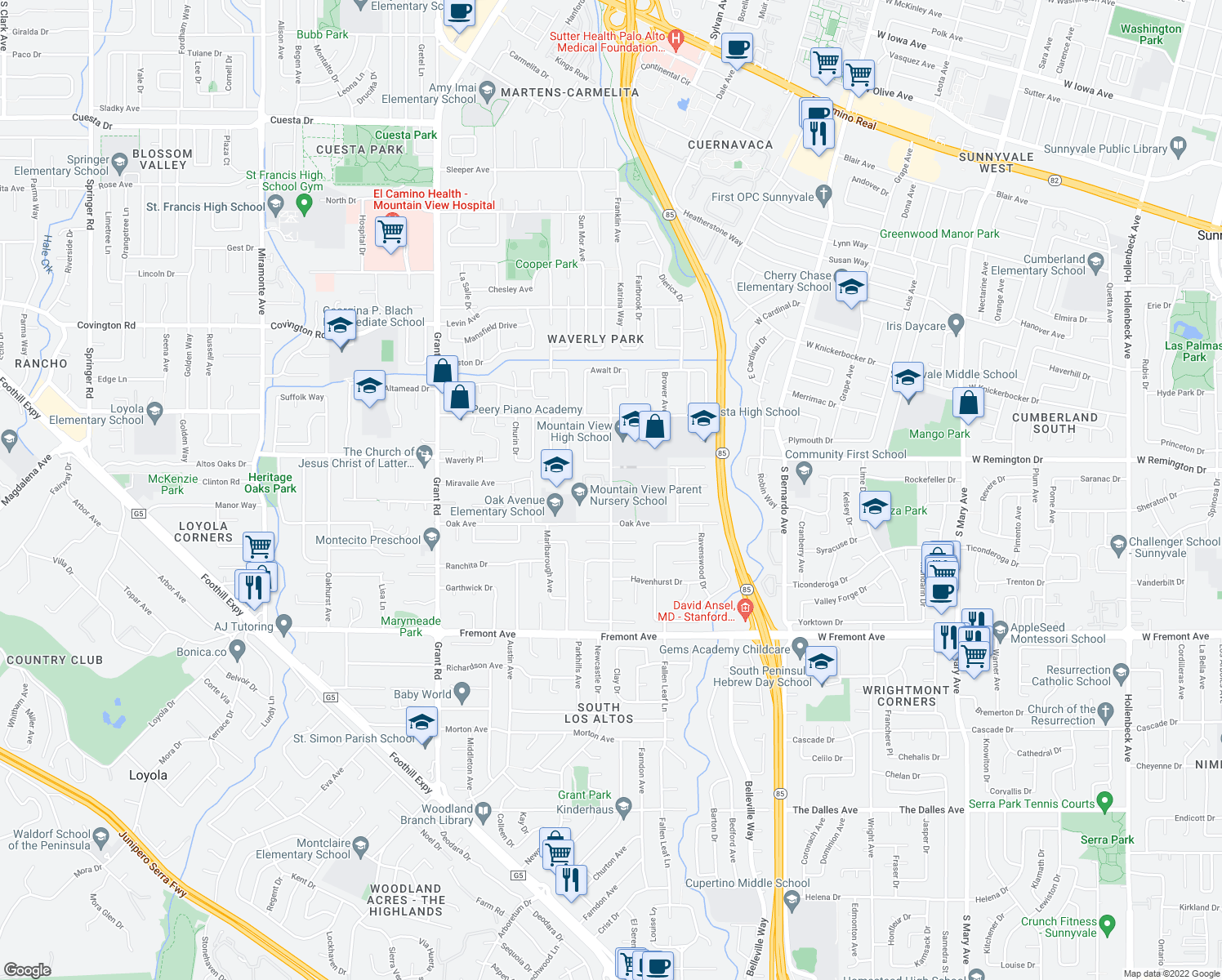 map of restaurants, bars, coffee shops, grocery stores, and more near 1455 Truman Avenue in Los Altos