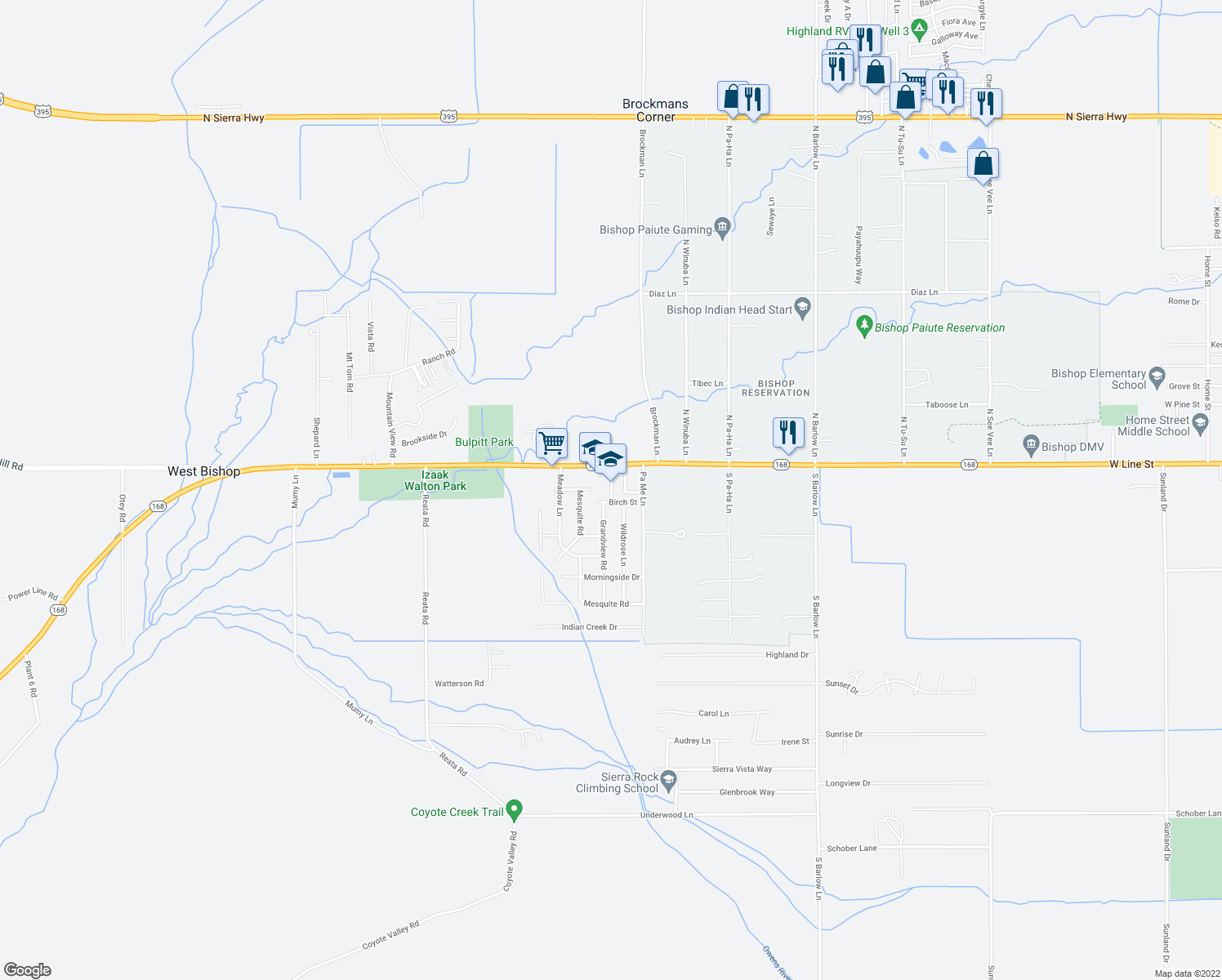 map of restaurants, bars, coffee shops, grocery stores, and more near 160 Grandview Road in Bishop