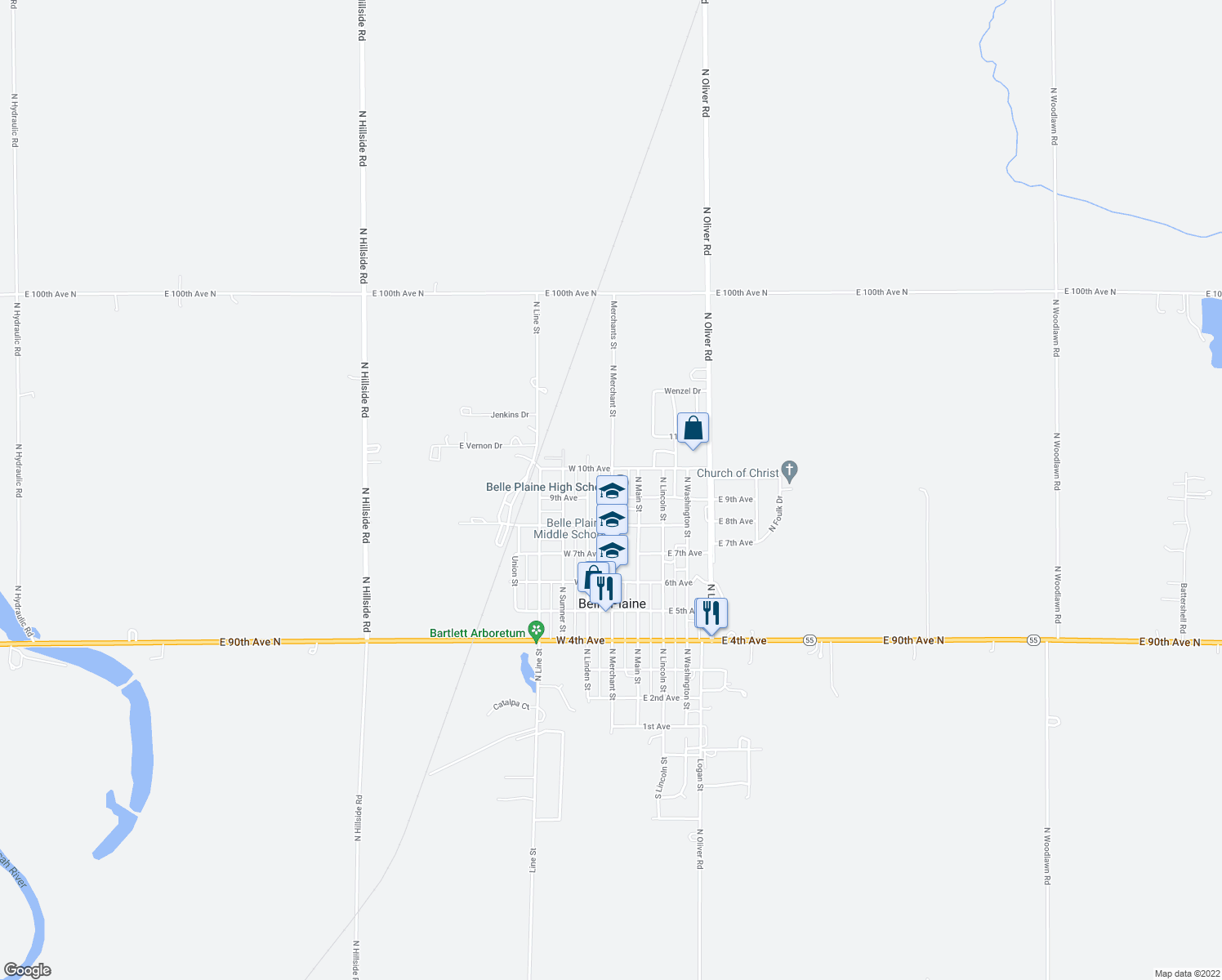 map of restaurants, bars, coffee shops, grocery stores, and more near 915 N Merchant St in Belle Plaine