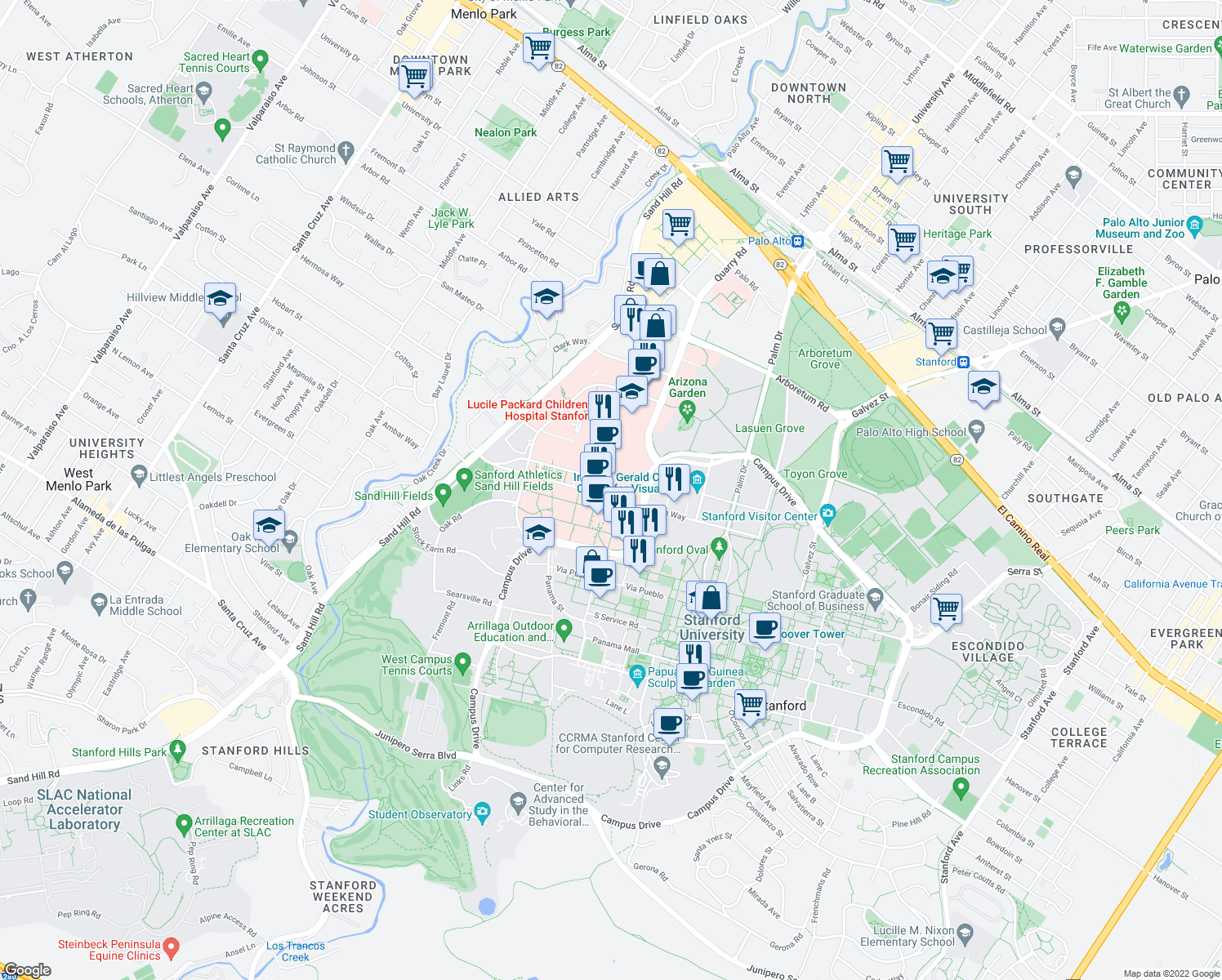 map of restaurants, bars, coffee shops, grocery stores, and more near 300 Pasteur Drive in Palo Alto