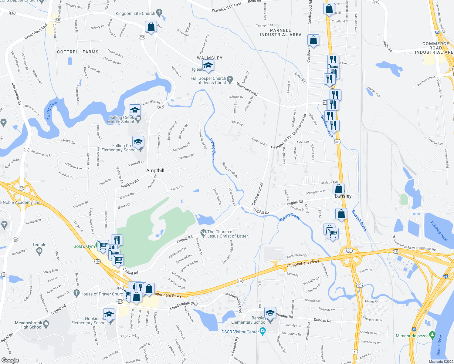 map of restaurants, bars, coffee shops, grocery stores, and more near 3303 Shady Creek Road in Richmond