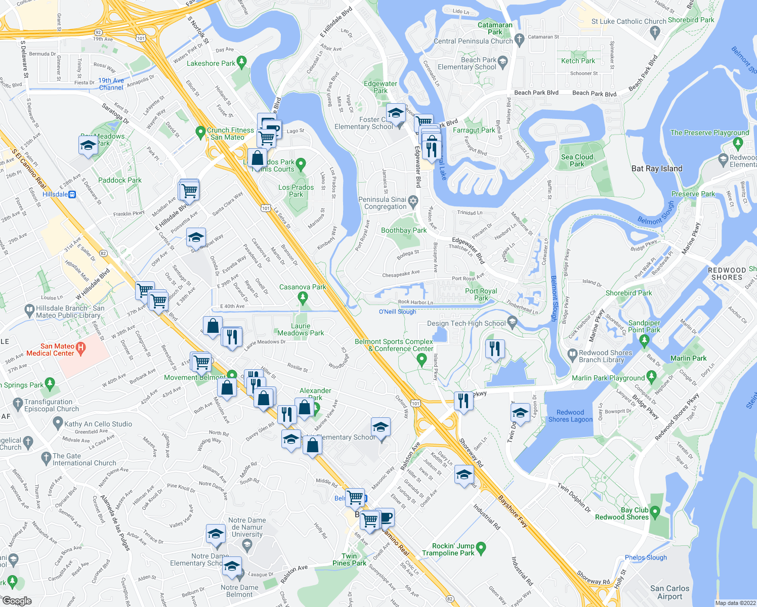 map of restaurants, bars, coffee shops, grocery stores, and more near 237-243 Rock Harbor Lane in Foster City