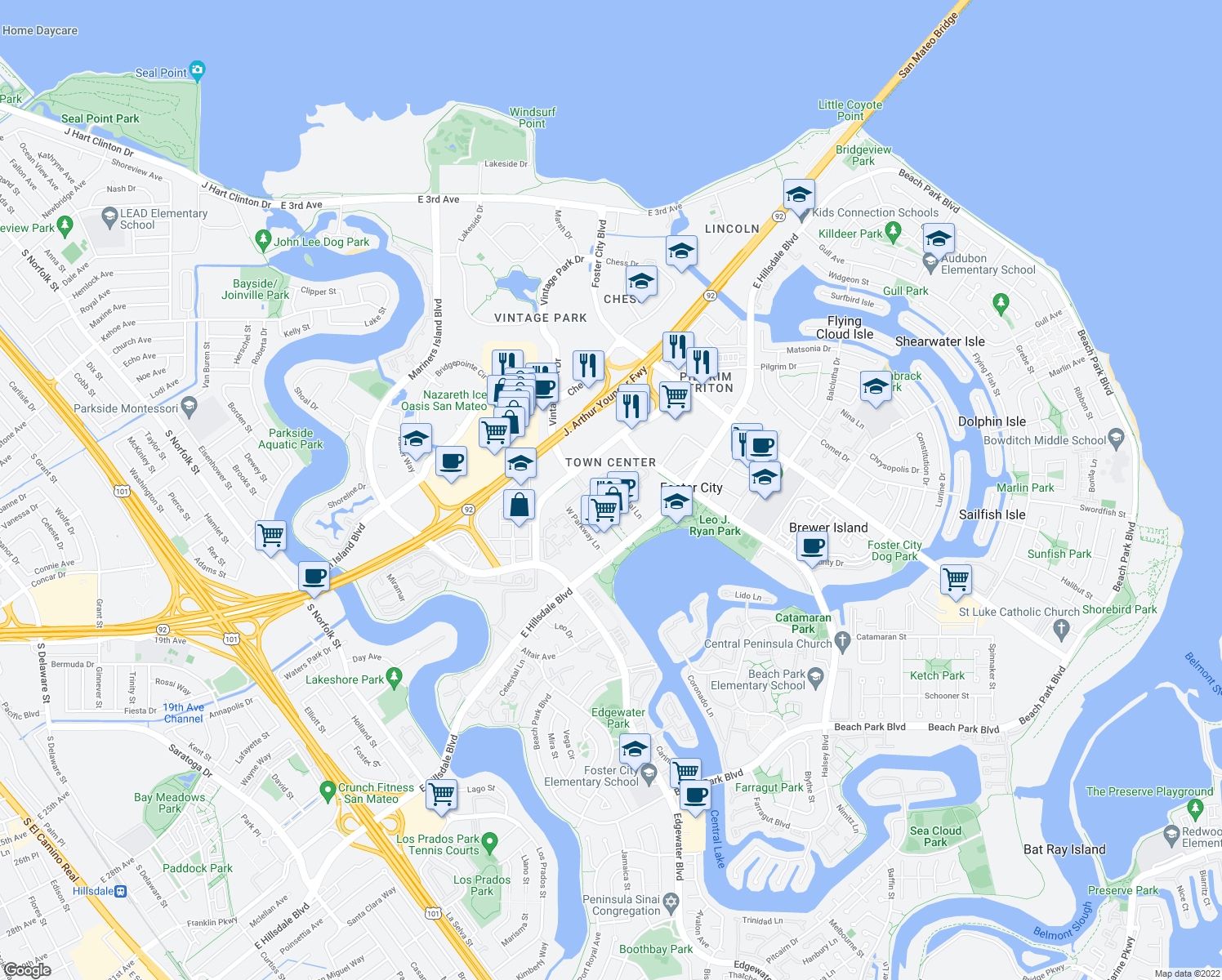 map of restaurants, bars, coffee shops, grocery stores, and more near 950 Tower Lane in Foster City