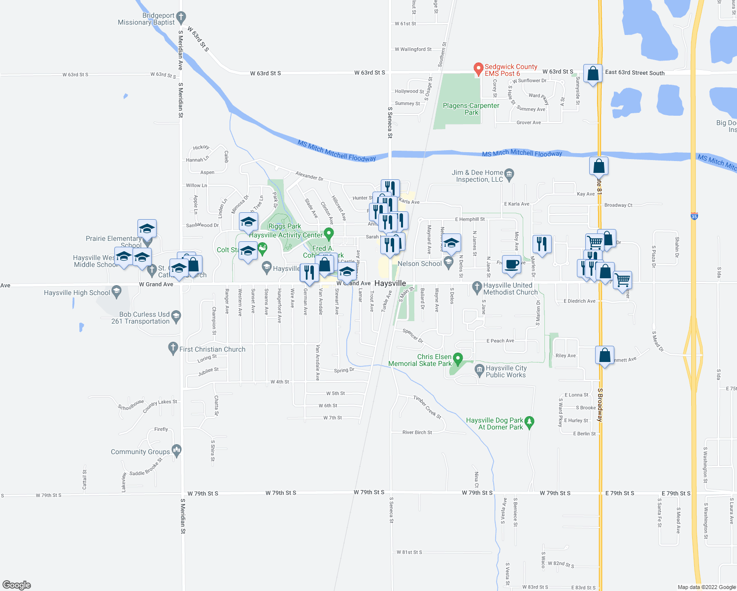 map of restaurants, bars, coffee shops, grocery stores, and more near 127 Trout Avenue in Haysville