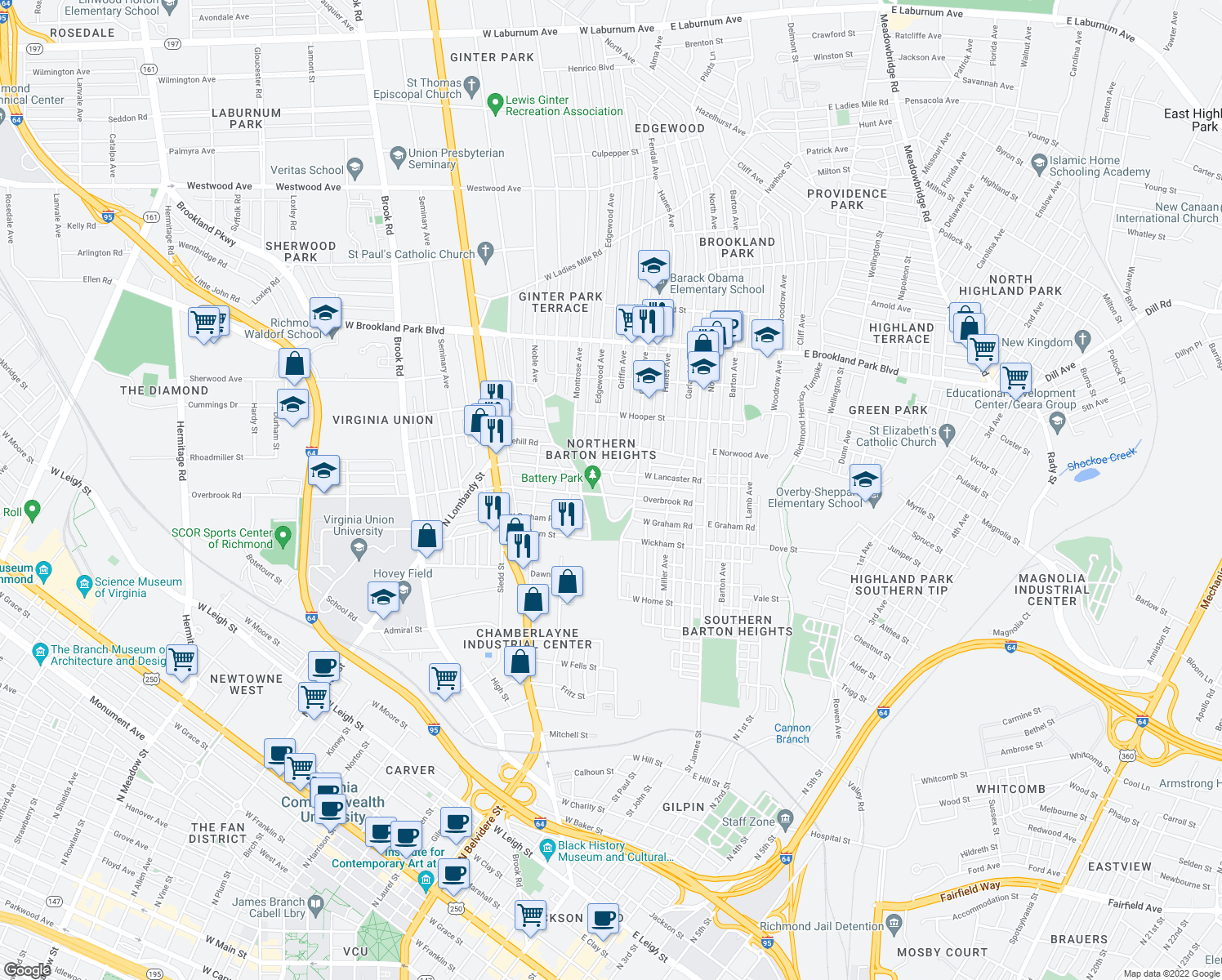 map of restaurants, bars, coffee shops, grocery stores, and more near 314 Overbrook Road in Richmond