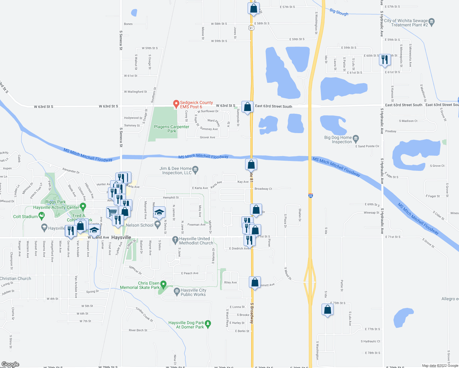 map of restaurants, bars, coffee shops, grocery stores, and more near 1400 East Kay Avenue in Haysville