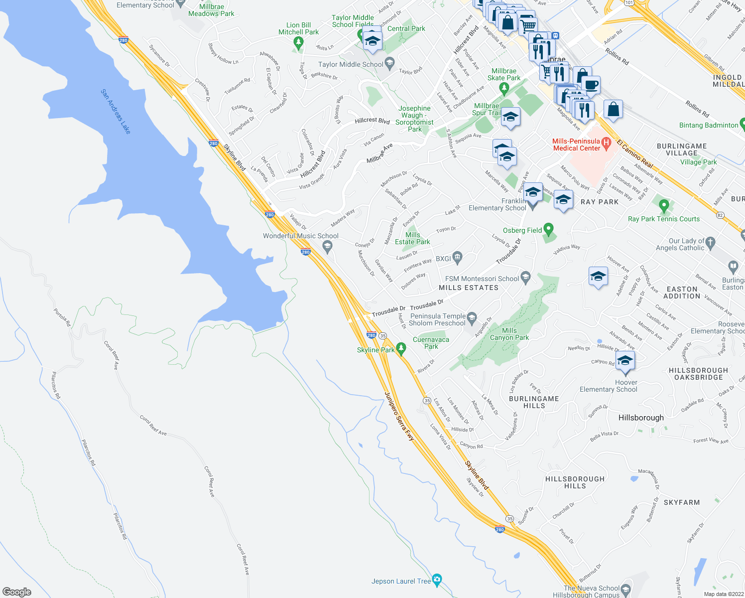 map of restaurants, bars, coffee shops, grocery stores, and more near 3133 Frontera Way in Burlingame