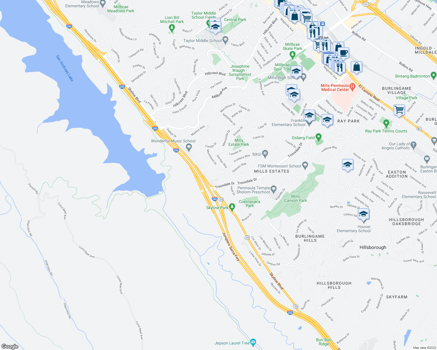 map of restaurants, bars, coffee shops, grocery stores, and more near 1857 Hunt Drive in Burlingame