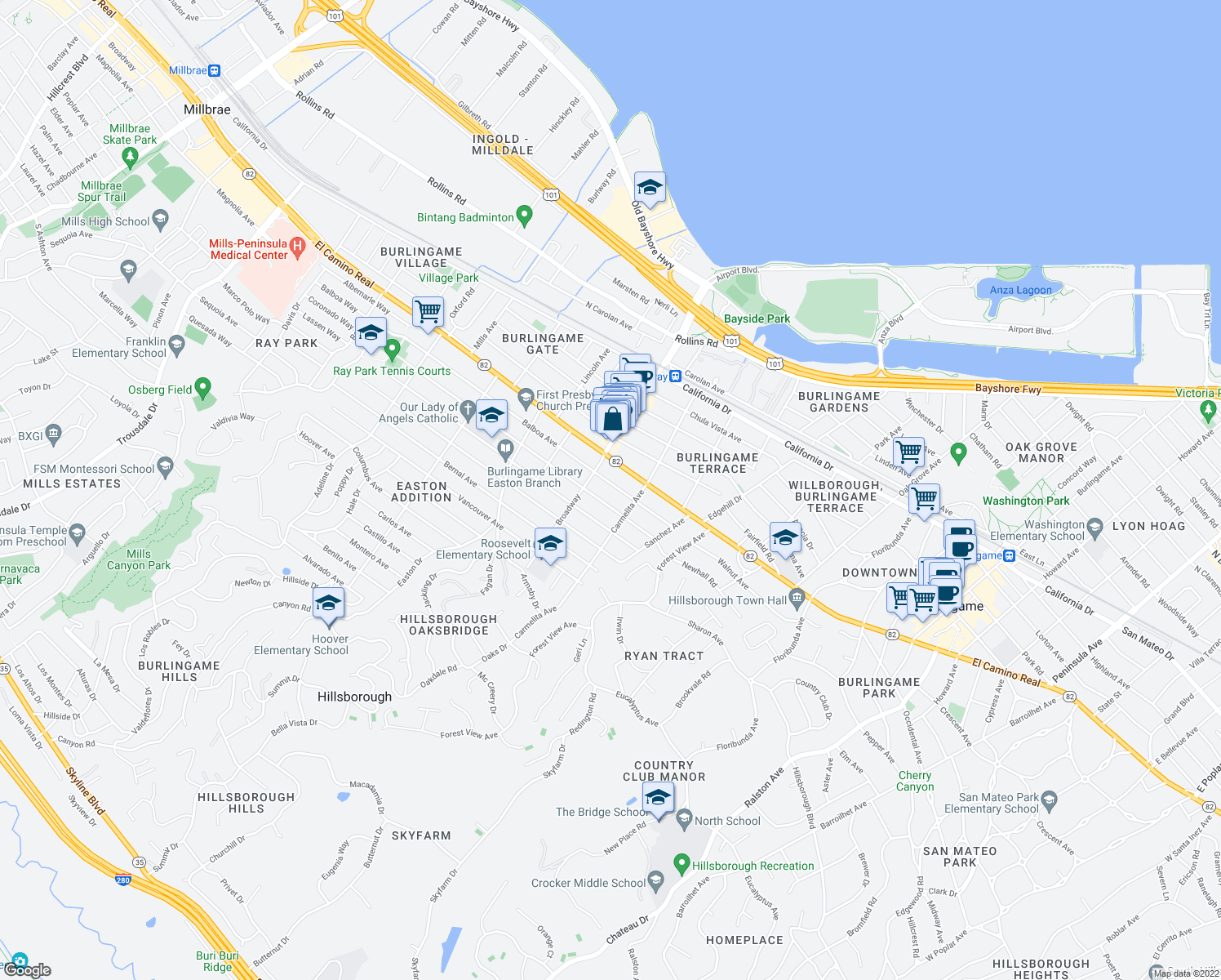 map of restaurants, bars, coffee shops, grocery stores, and more near 1129 Balboa Avenue in Burlingame