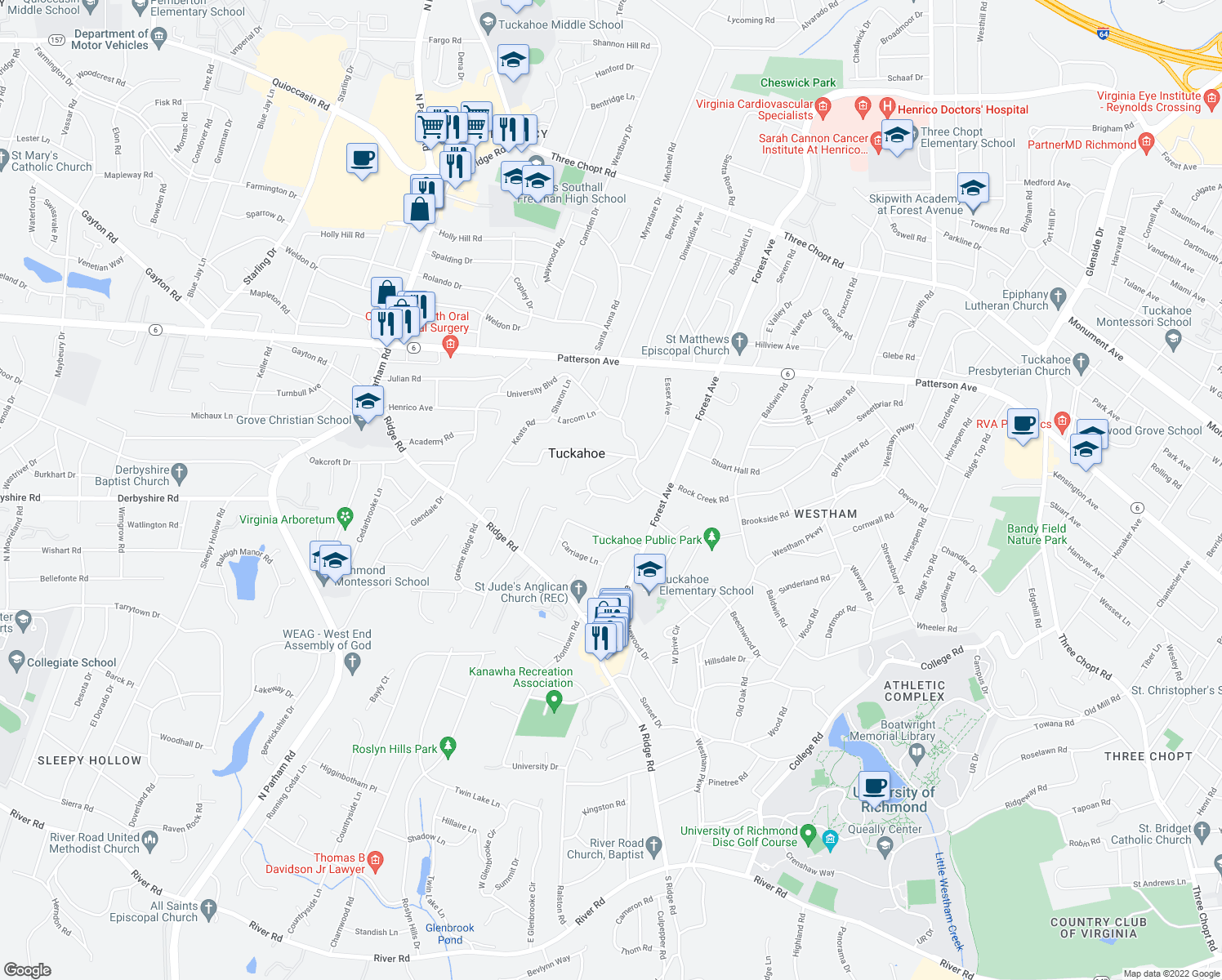 map of restaurants, bars, coffee shops, grocery stores, and more near Arlington Cir in Richmond