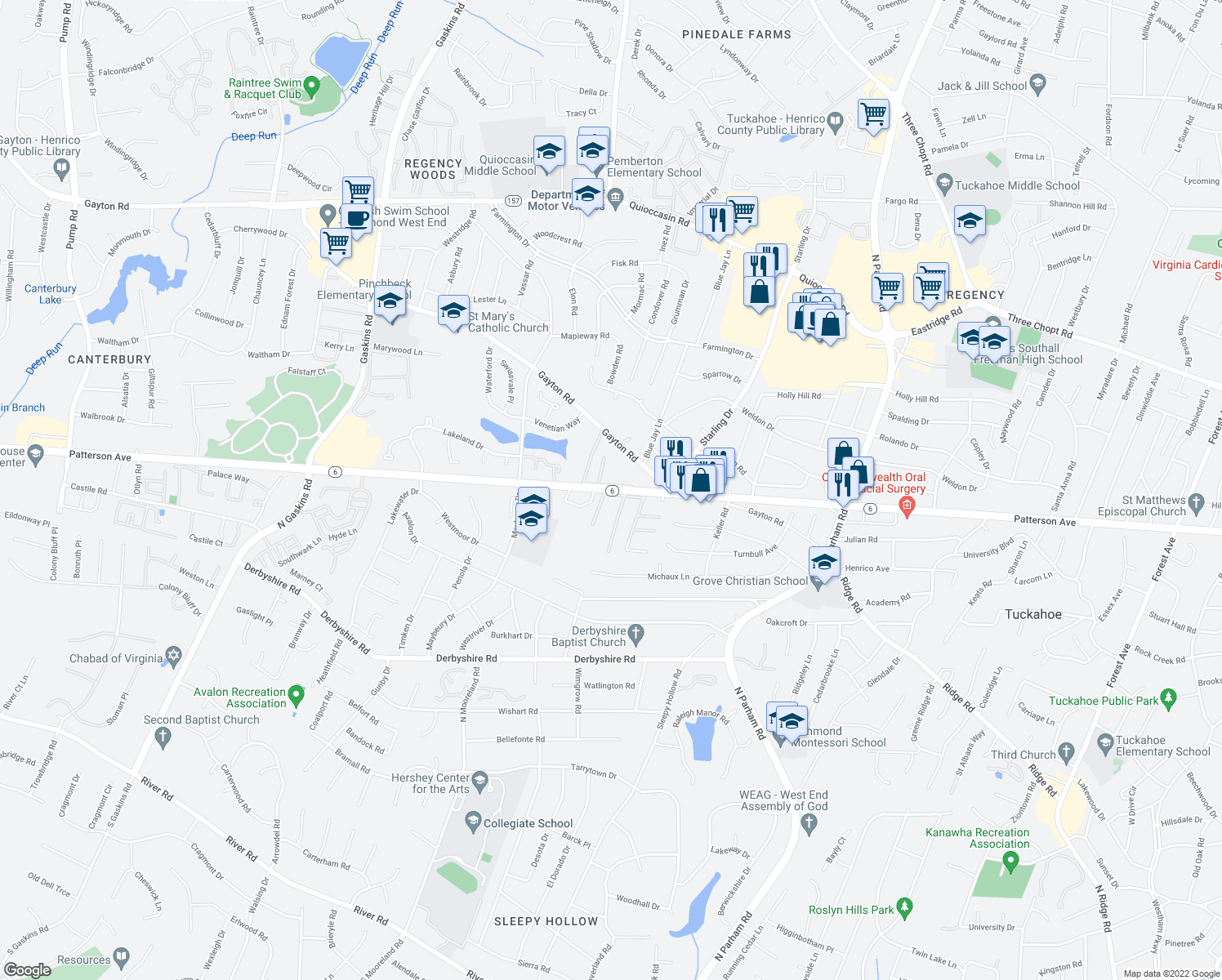 map of restaurants, bars, coffee shops, grocery stores, and more near 9012 Gayton Road in Richmond