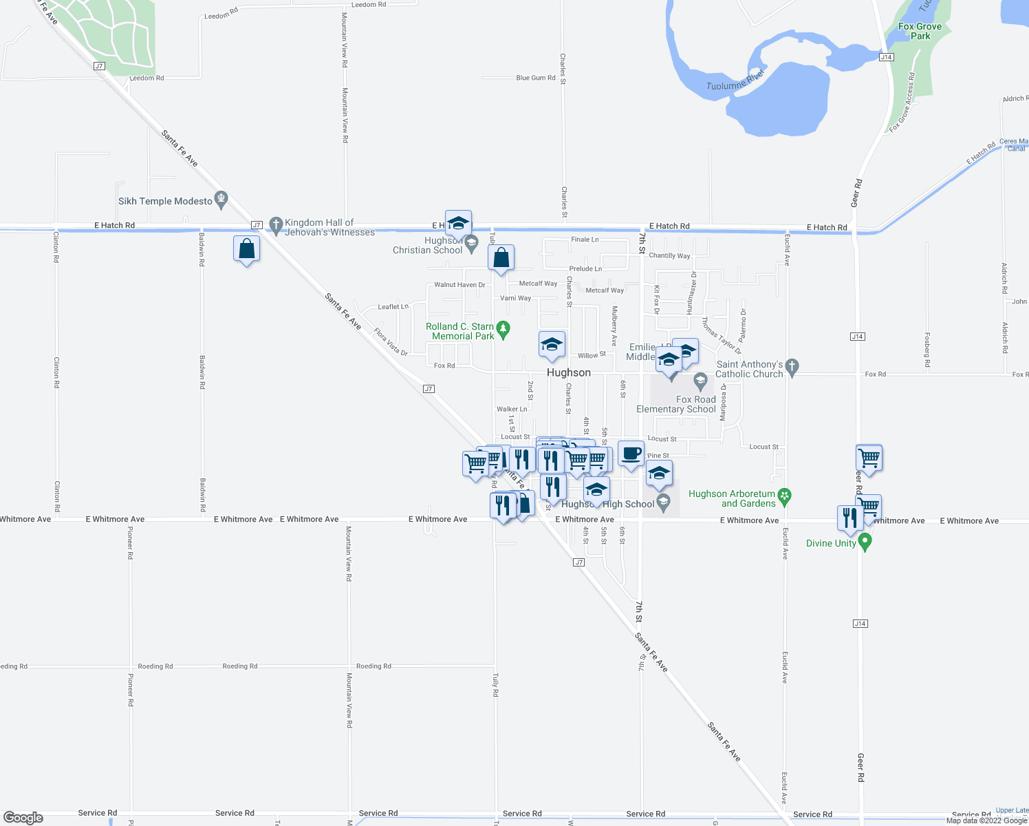 map of restaurants, bars, coffee shops, grocery stores, and more near 2103 1st Street in Hughson