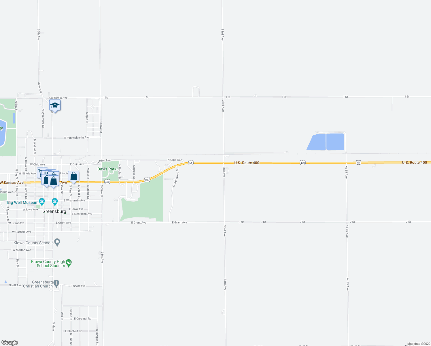 map of restaurants, bars, coffee shops, grocery stores, and more near 15479 U.S. 54 in Greensburg