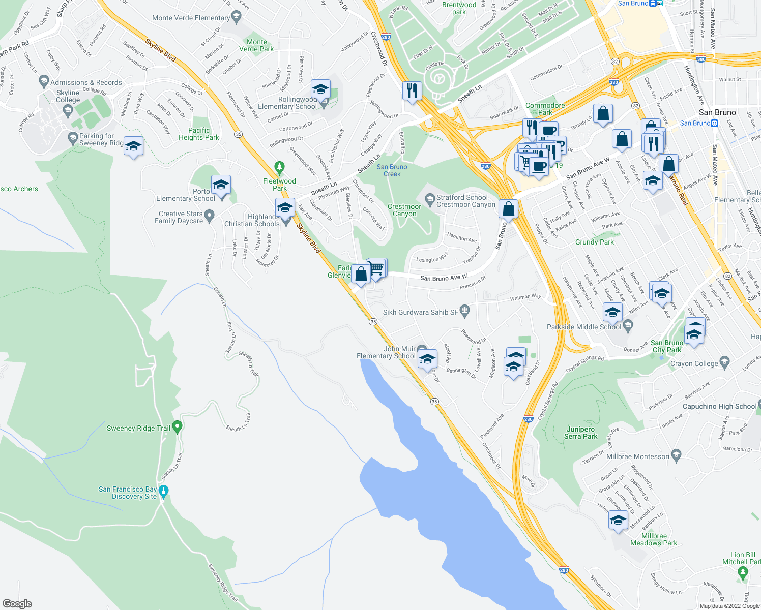 map of restaurants, bars, coffee shops, grocery stores, and more near 752 Glenview Drive in San Bruno