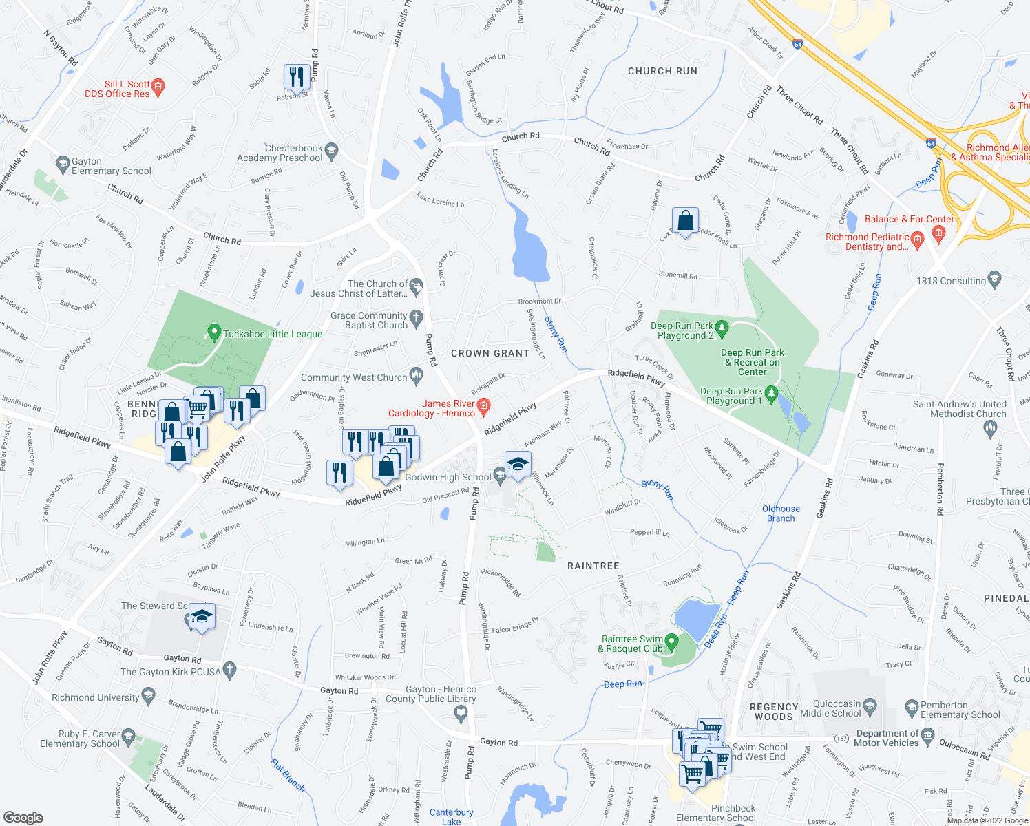 map of restaurants, bars, coffee shops, grocery stores, and more near King's Grant Drive in Henrico