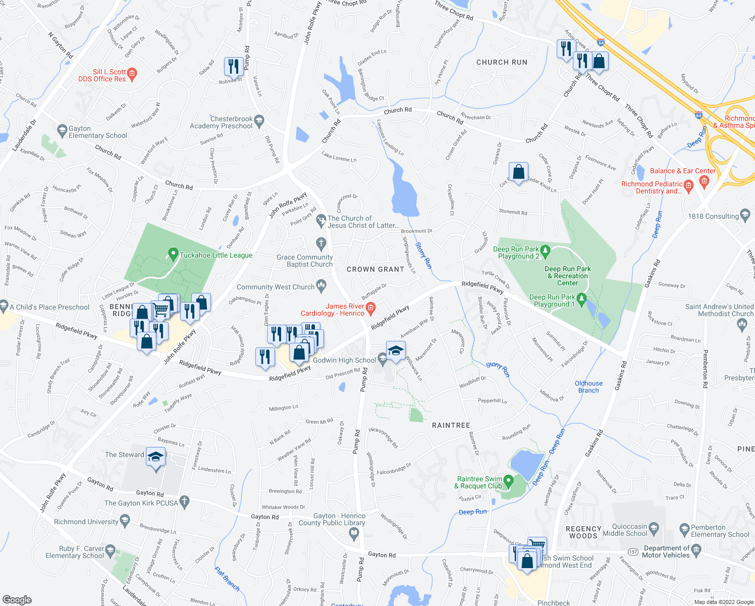 map of restaurants, bars, coffee shops, grocery stores, and more near Kings Grant Drive in Henrico