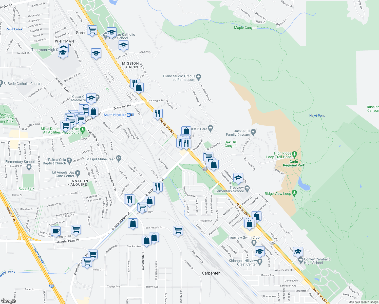 map of restaurants, bars, coffee shops, grocery stores, and more near Mission Boulevard & Industrial Parkway in Hayward