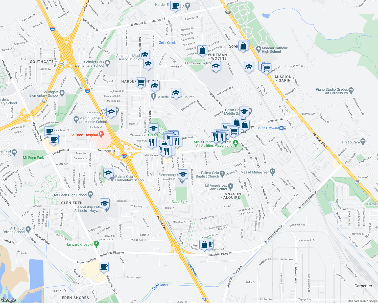 map of restaurants, bars, coffee shops, grocery stores, and more near 963 West Tennyson Road in Hayward
