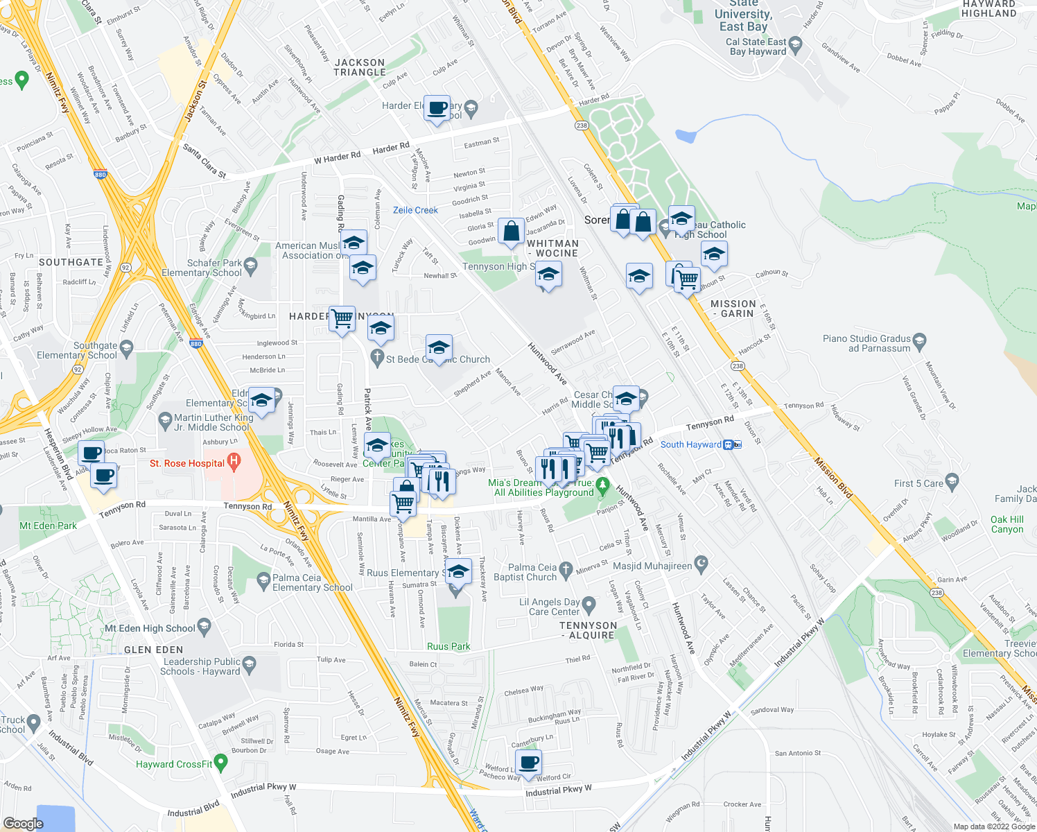 map of restaurants, bars, coffee shops, grocery stores, and more near 27495 Manon Avenue in Hayward