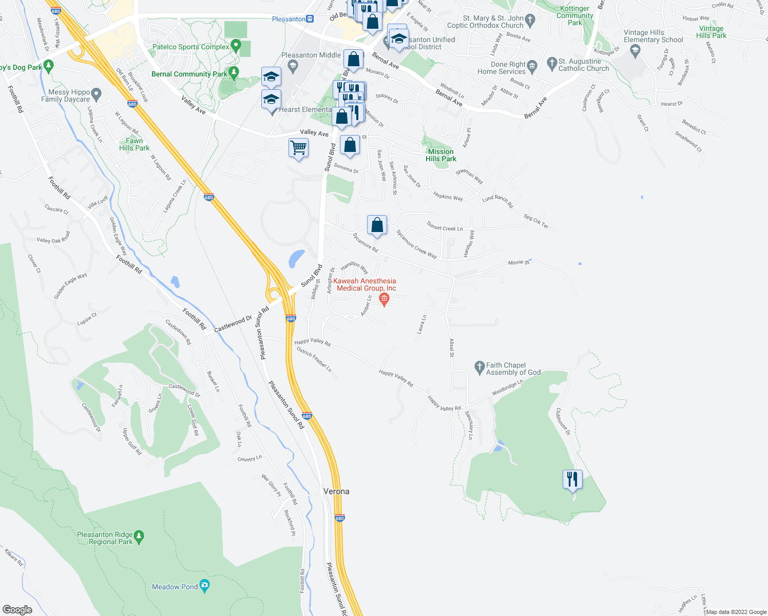 map of restaurants, bars, coffee shops, grocery stores, and more near 605 Blossom Court in Pleasanton