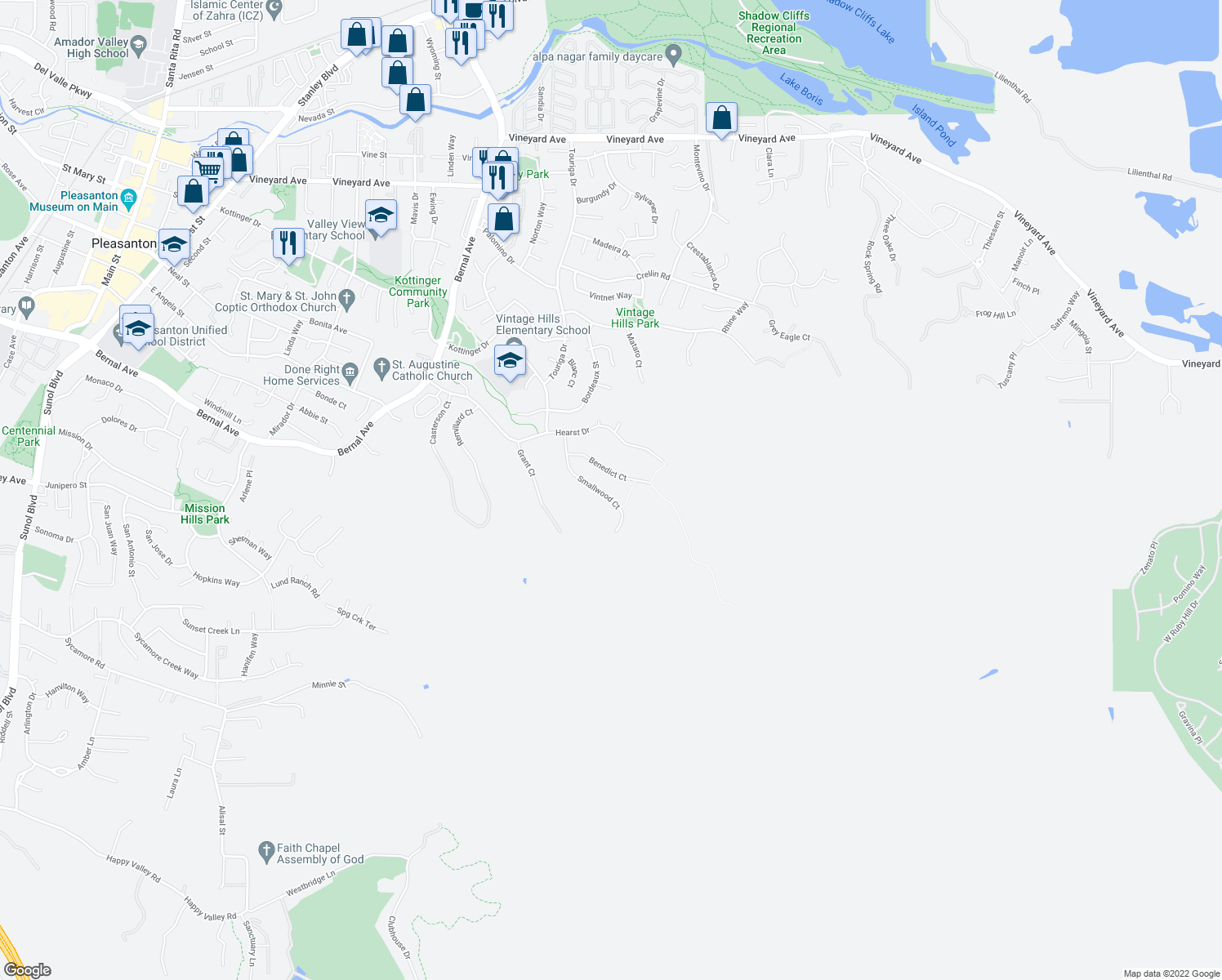 map of restaurants, bars, coffee shops, grocery stores, and more near 3750 Smallwood Court in Pleasanton