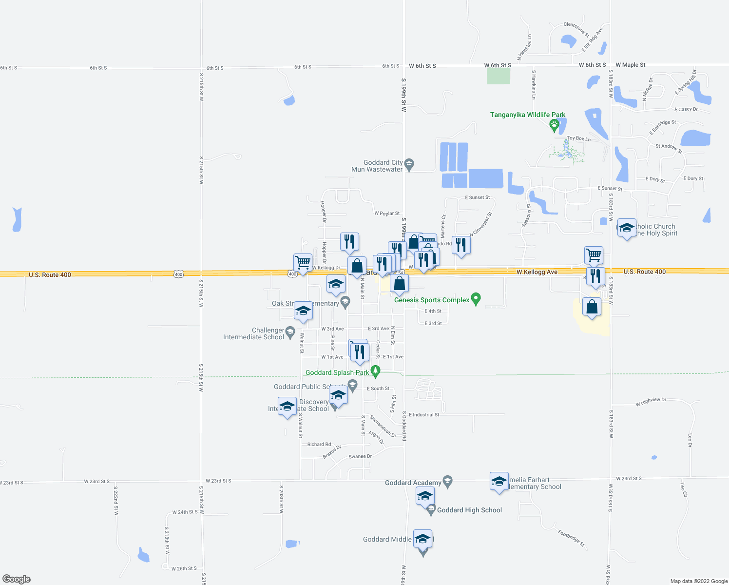 map of restaurants, bars, coffee shops, grocery stores, and more near 622 North Main Street in Goddard