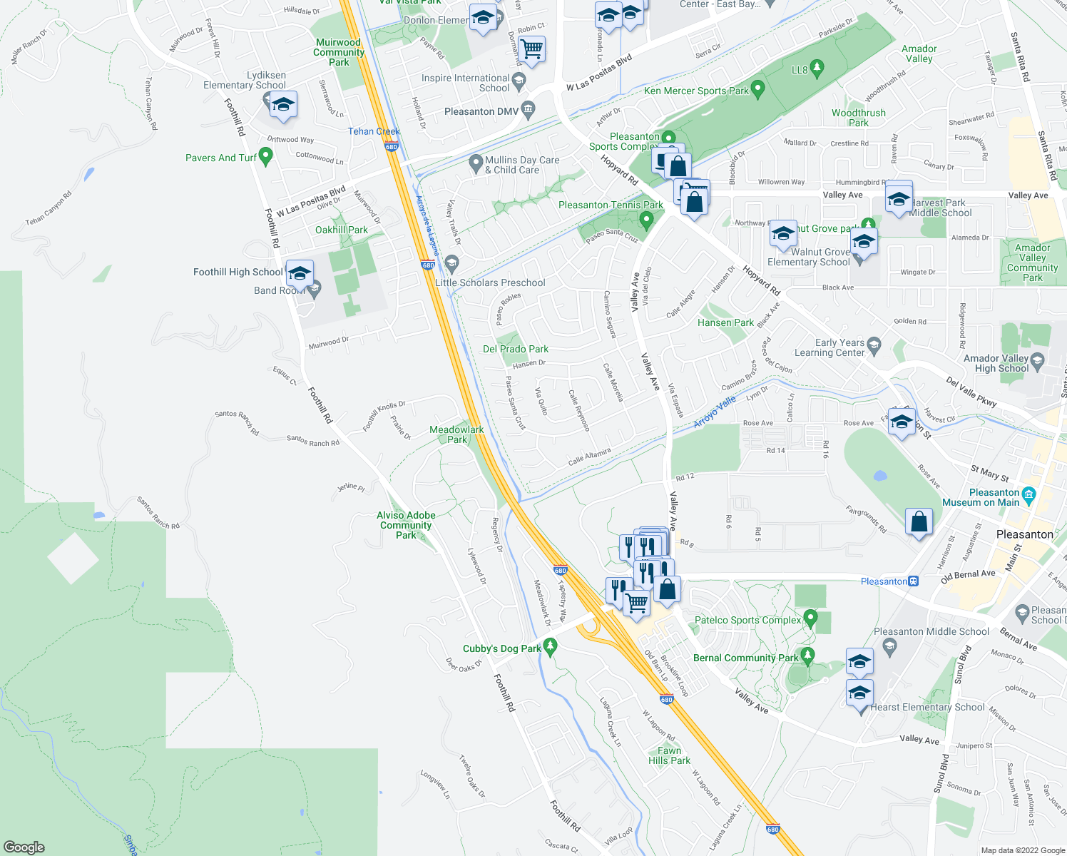 map of restaurants, bars, coffee shops, grocery stores, and more near 6861 Paseo Santa Cruz in Pleasanton