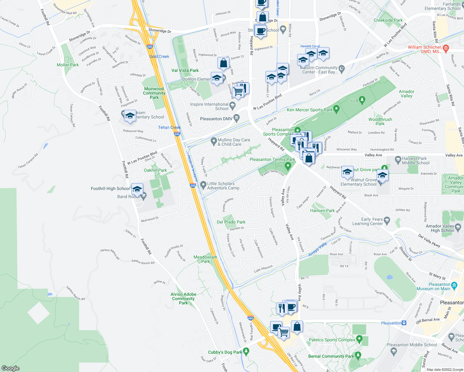 map of restaurants, bars, coffee shops, grocery stores, and more near 6730 Paseo Catalina in Pleasanton