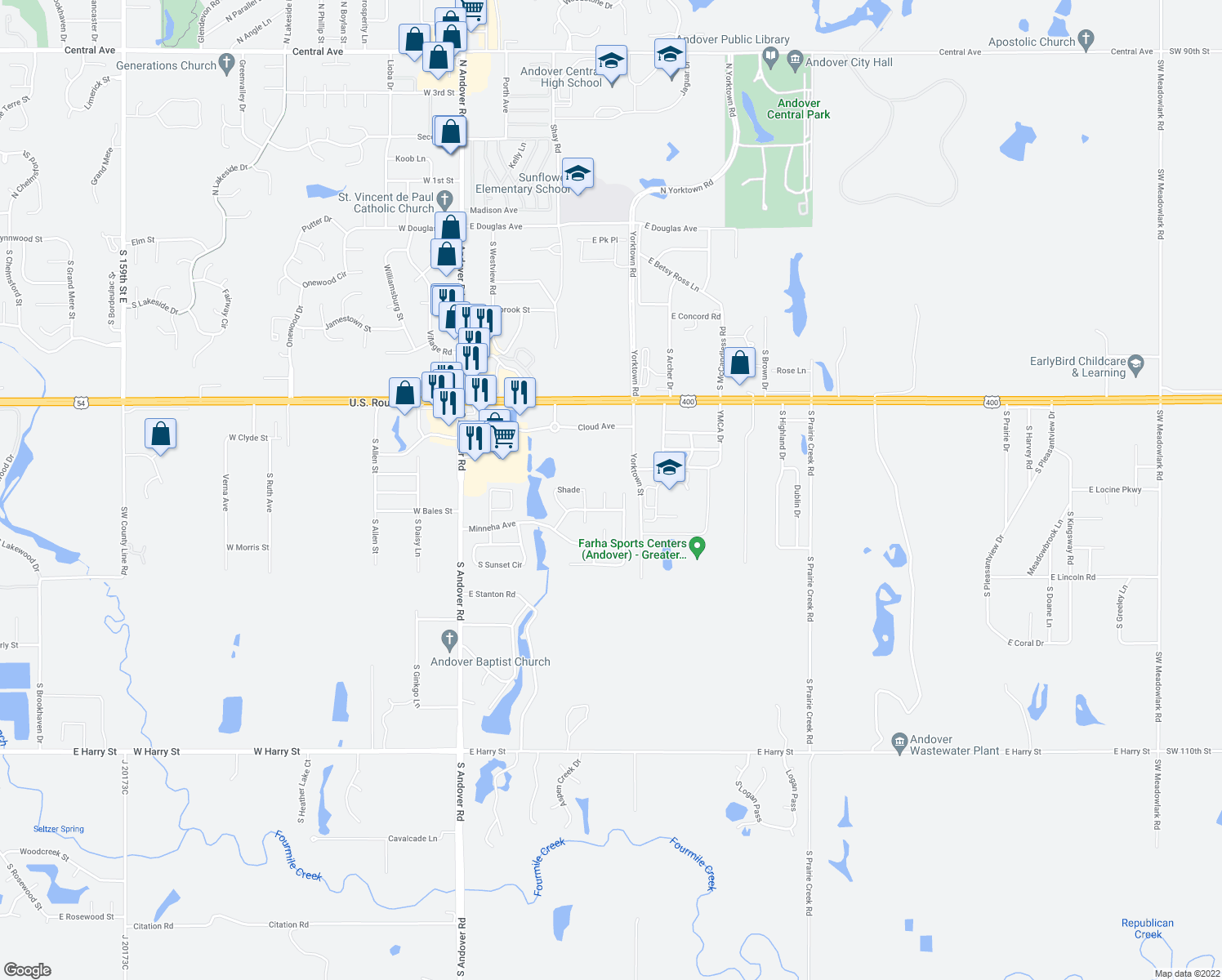 map of restaurants, bars, coffee shops, grocery stores, and more near 704 South Cherrywood Circle in Andover