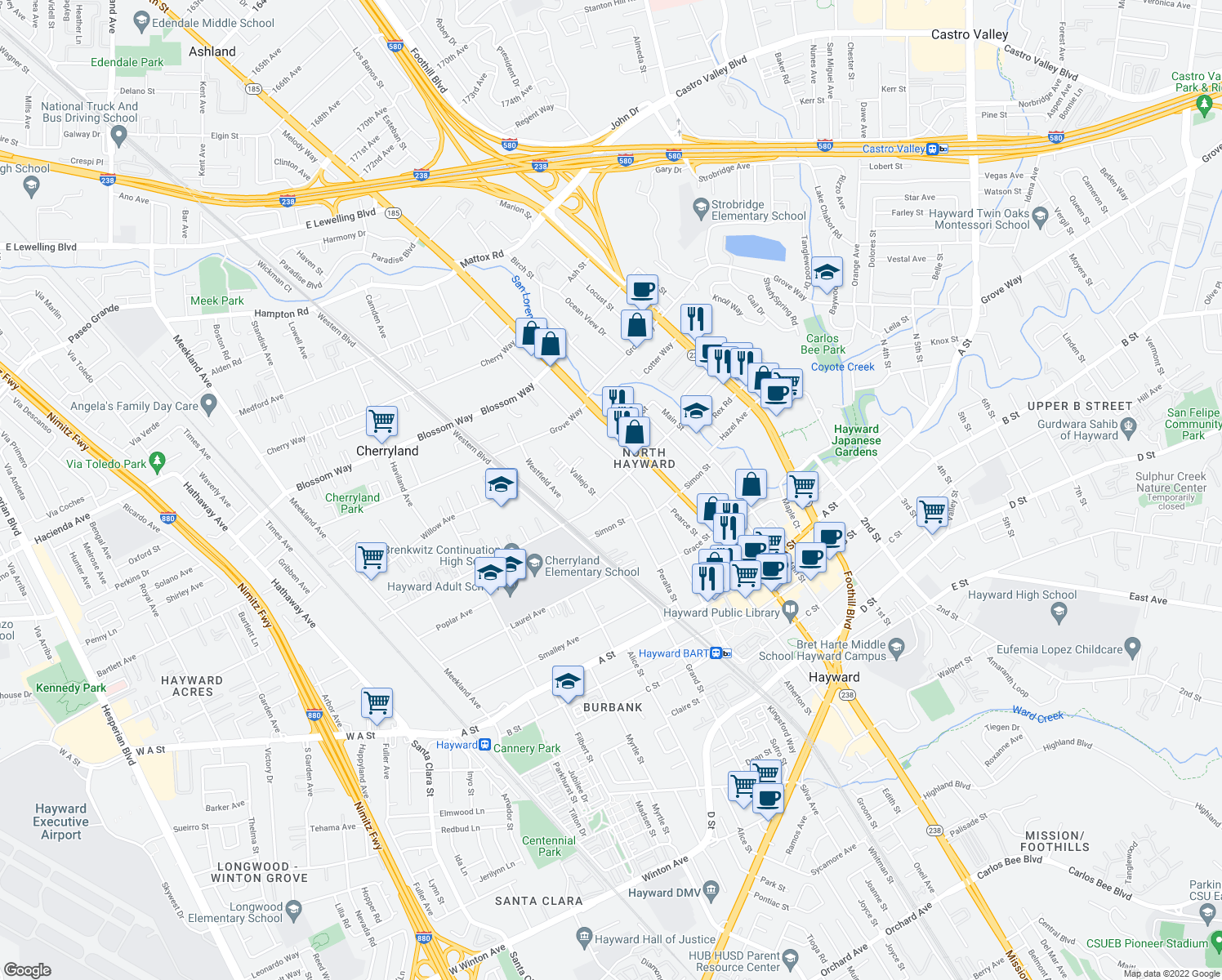 map of restaurants, bars, coffee shops, grocery stores, and more near Sunset Blvd & Peralta St in Hayward