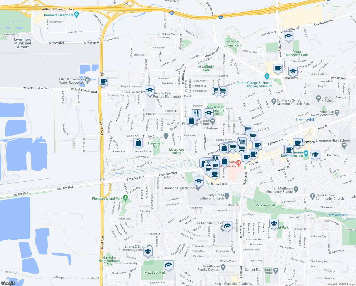 map of restaurants, bars, coffee shops, grocery stores, and more near 234-298 North Murrieta Boulevard in Livermore