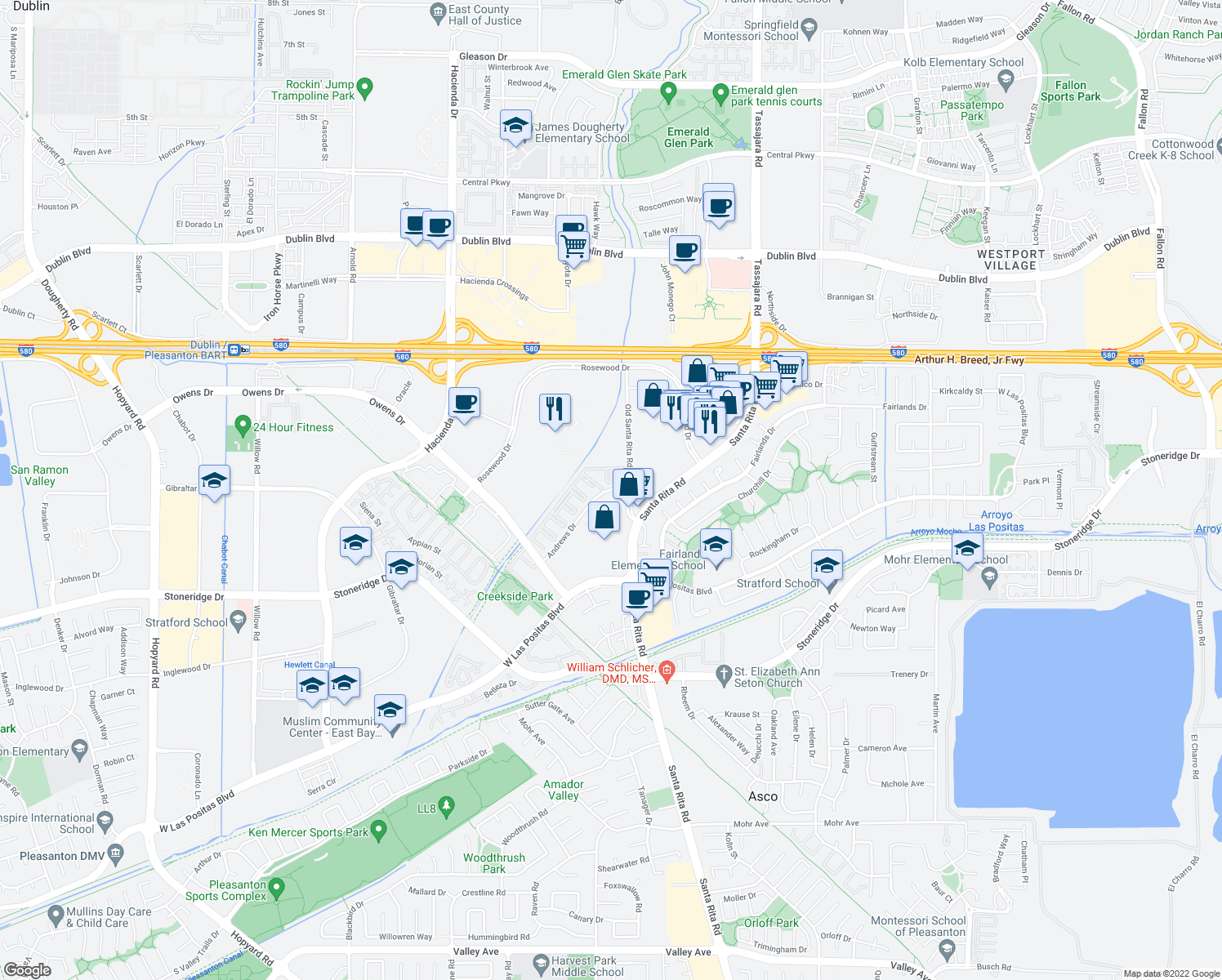 map of restaurants, bars, coffee shops, grocery stores, and more near 3680 Andrews Drive in Pleasanton
