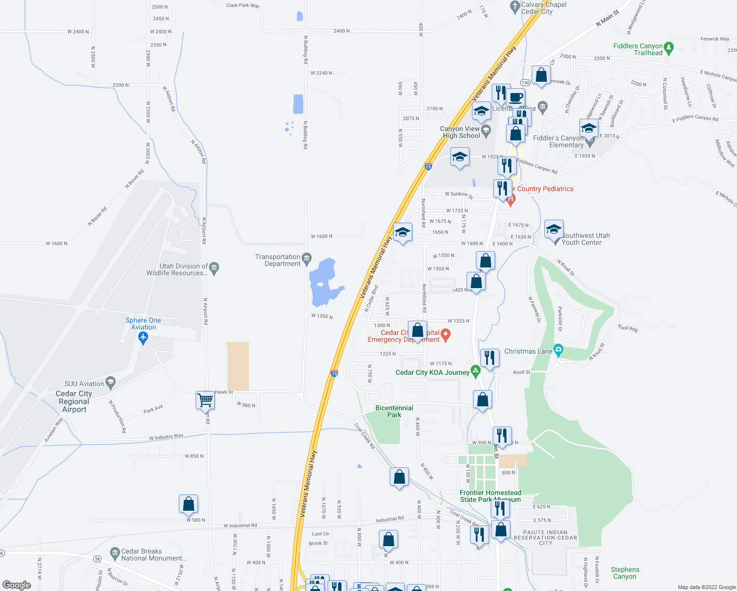 map of restaurants, bars, coffee shops, grocery stores, and more near 1415 North Cedar Boulevard in Cedar City