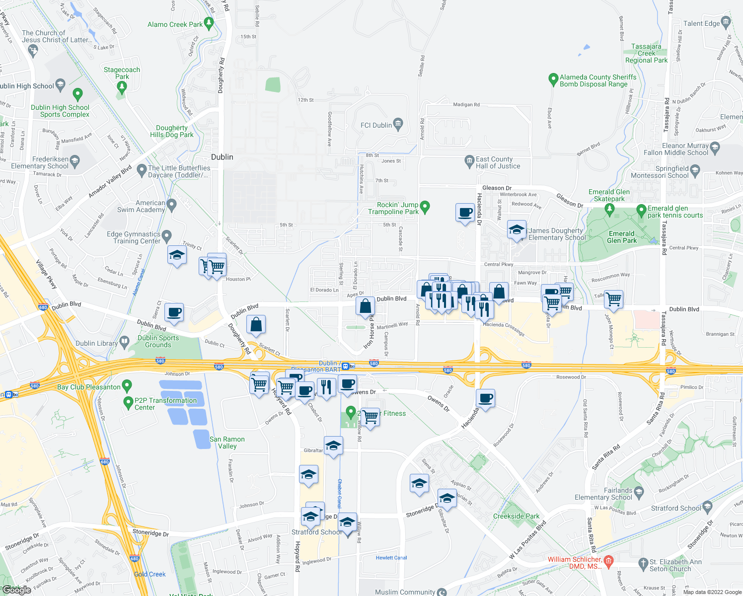 map of restaurants, bars, coffee shops, grocery stores, and more near Dublin Boulevard & Iron Horse Parkway in Dublin