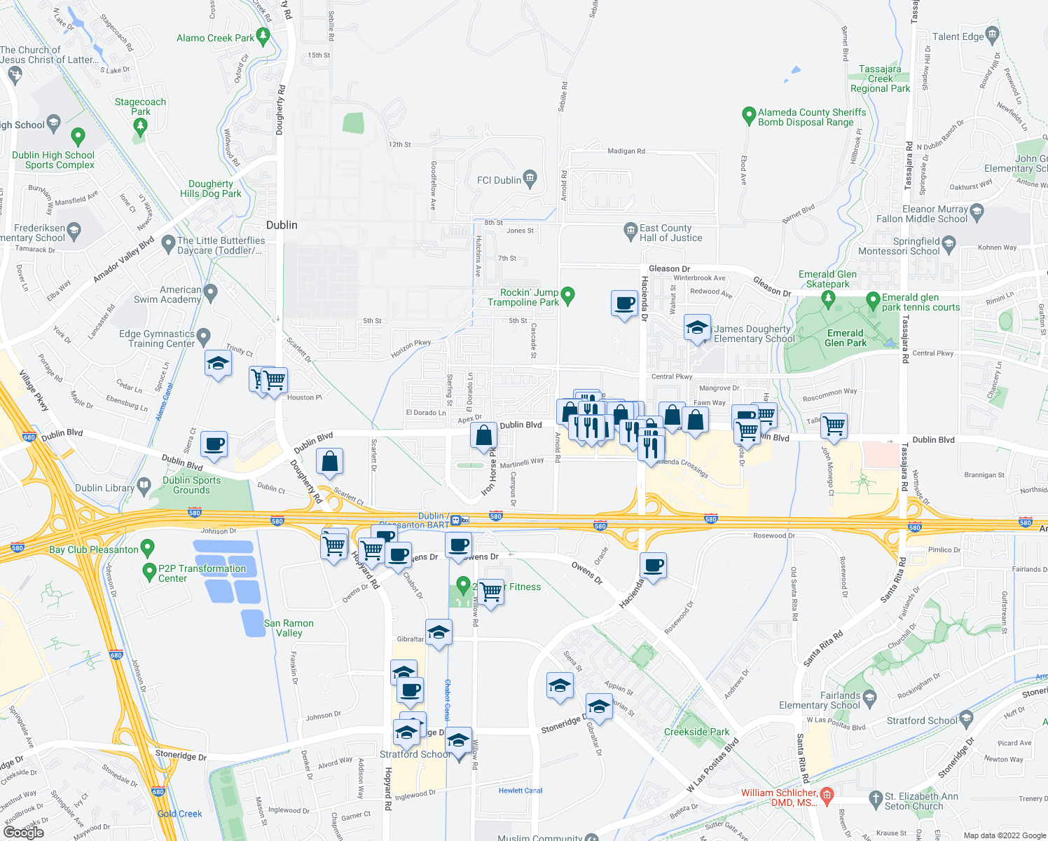 map of restaurants, bars, coffee shops, grocery stores, and more near Dublin Boulevard in Dublin